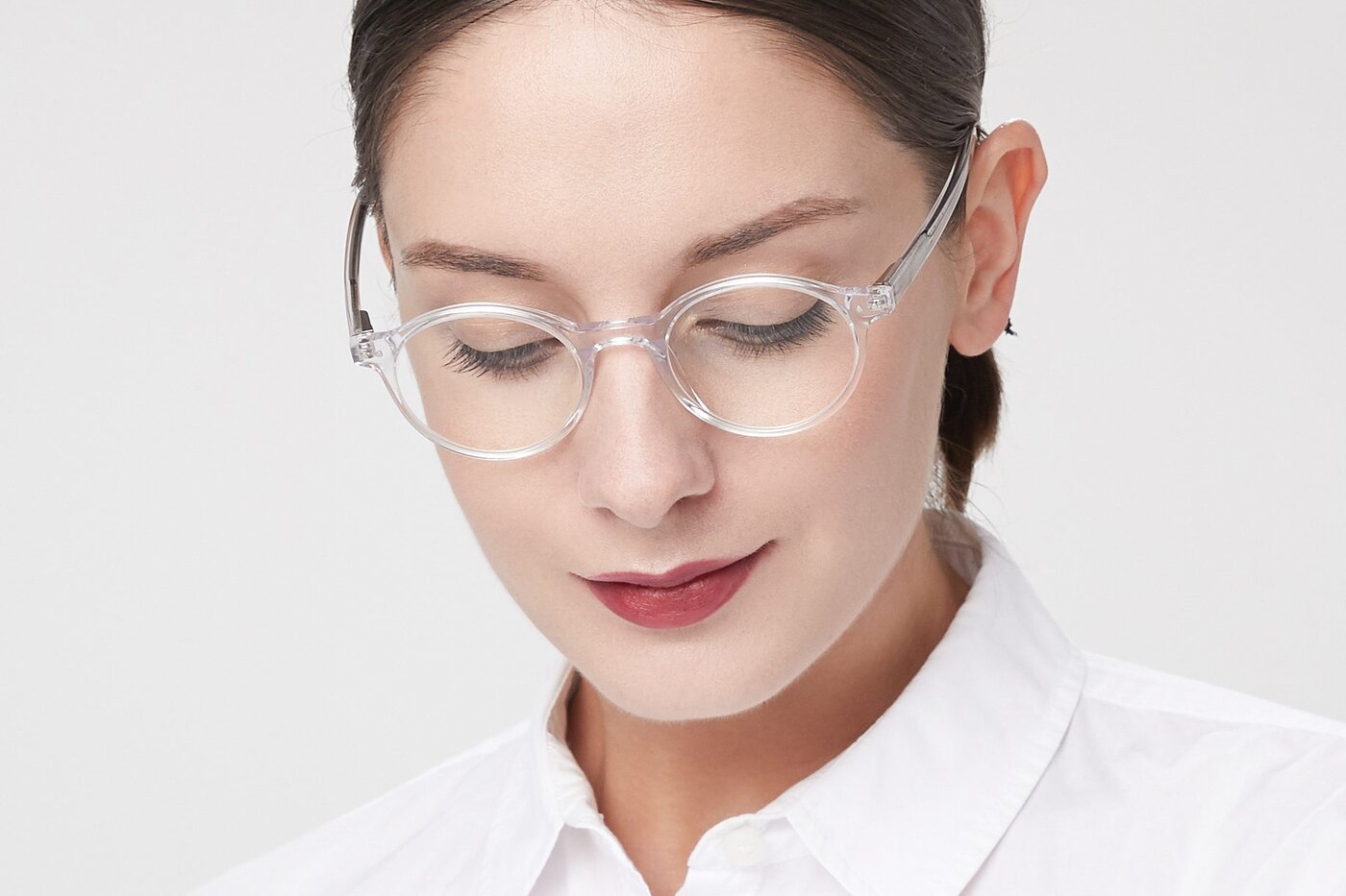 Clear Narrow Acetate Round Eyeglasses