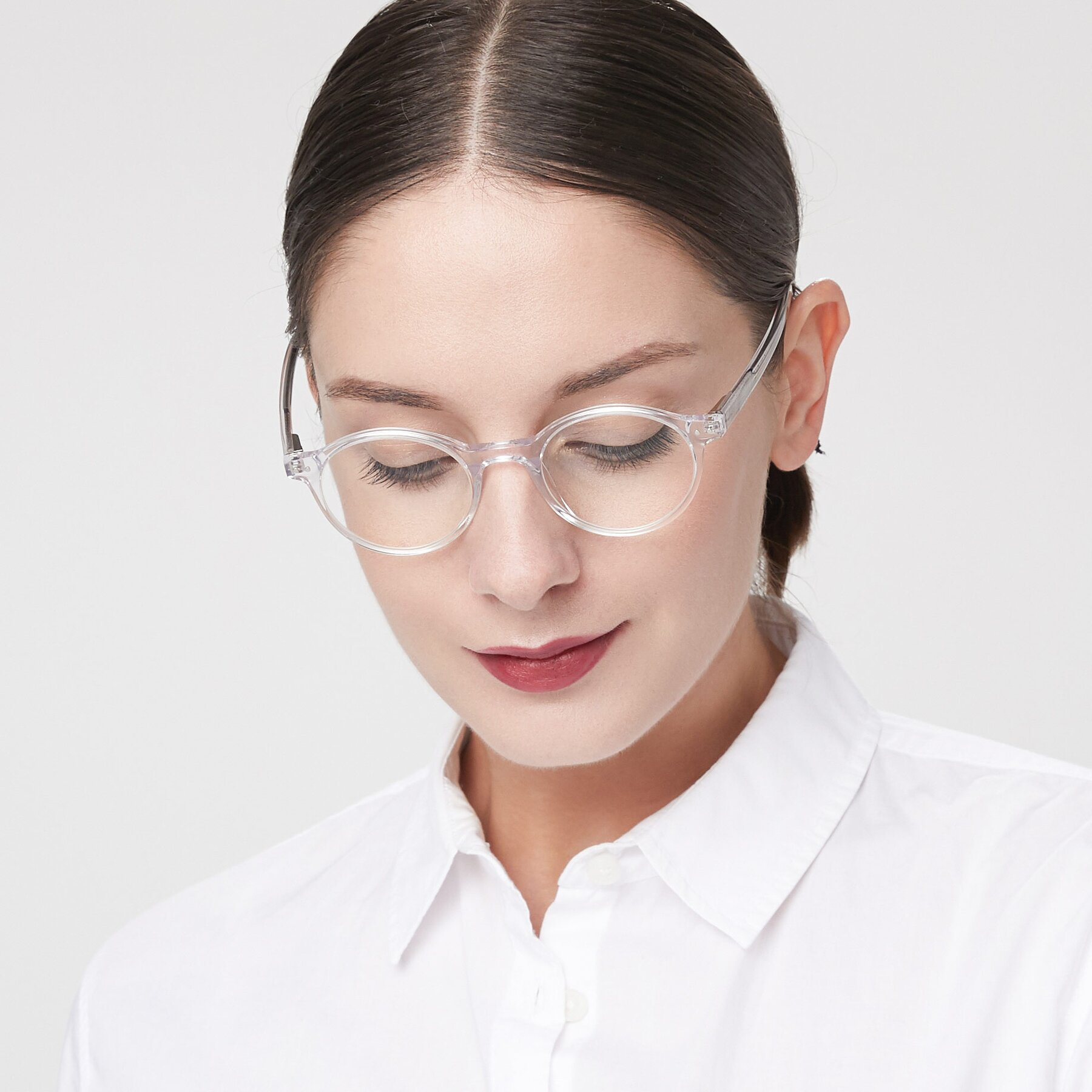 Women's lifestyle photography of 17519 in Clear with Clear Eyeglass Lenses