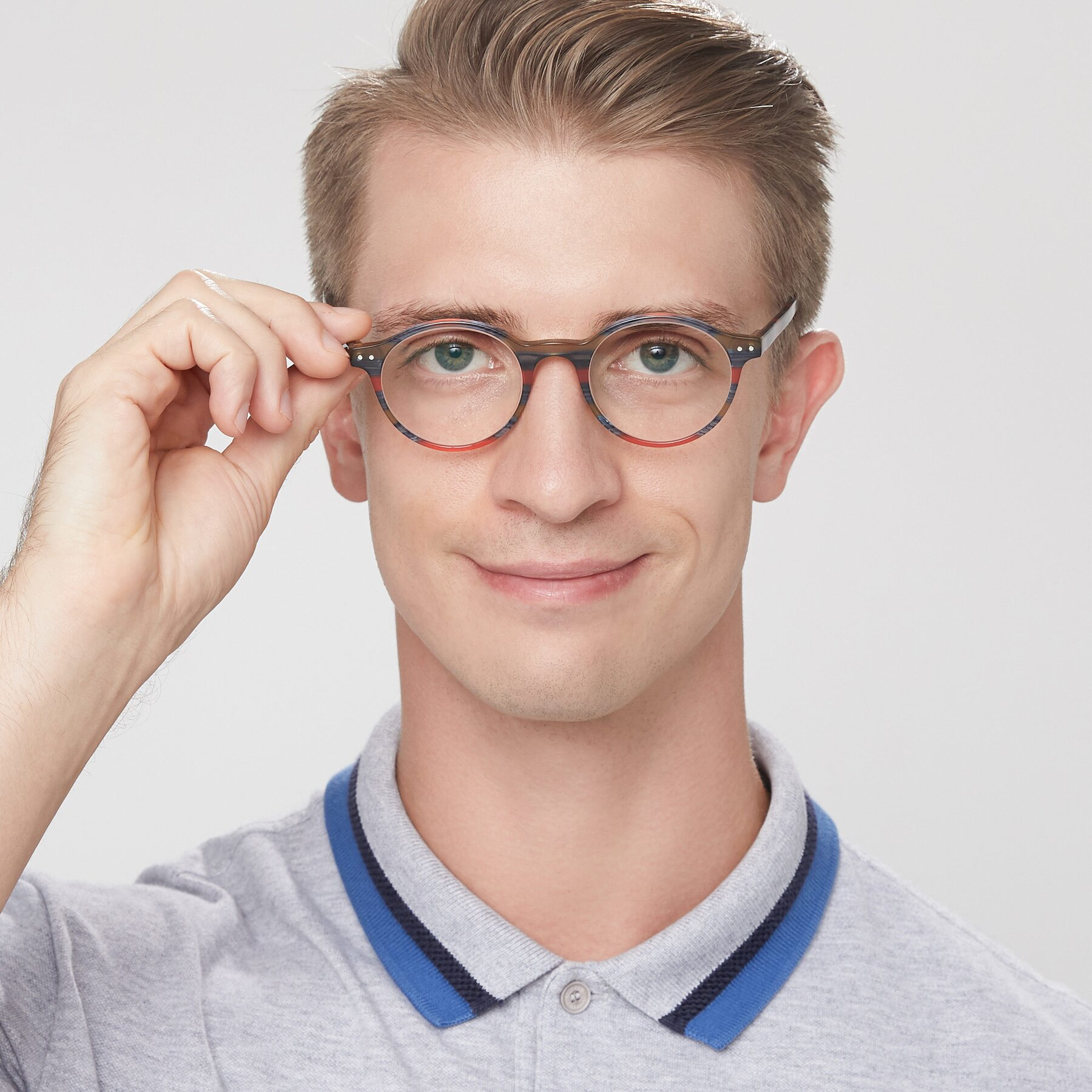 Men's lifestyle photography of 17519 in Stripe Blue Red with Clear Eyeglass Lenses