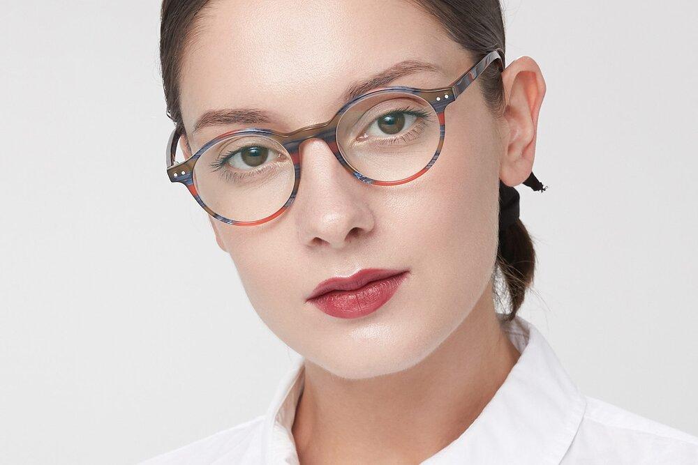 Stripe Blue Red Narrow Acetate Round Eyeglasses