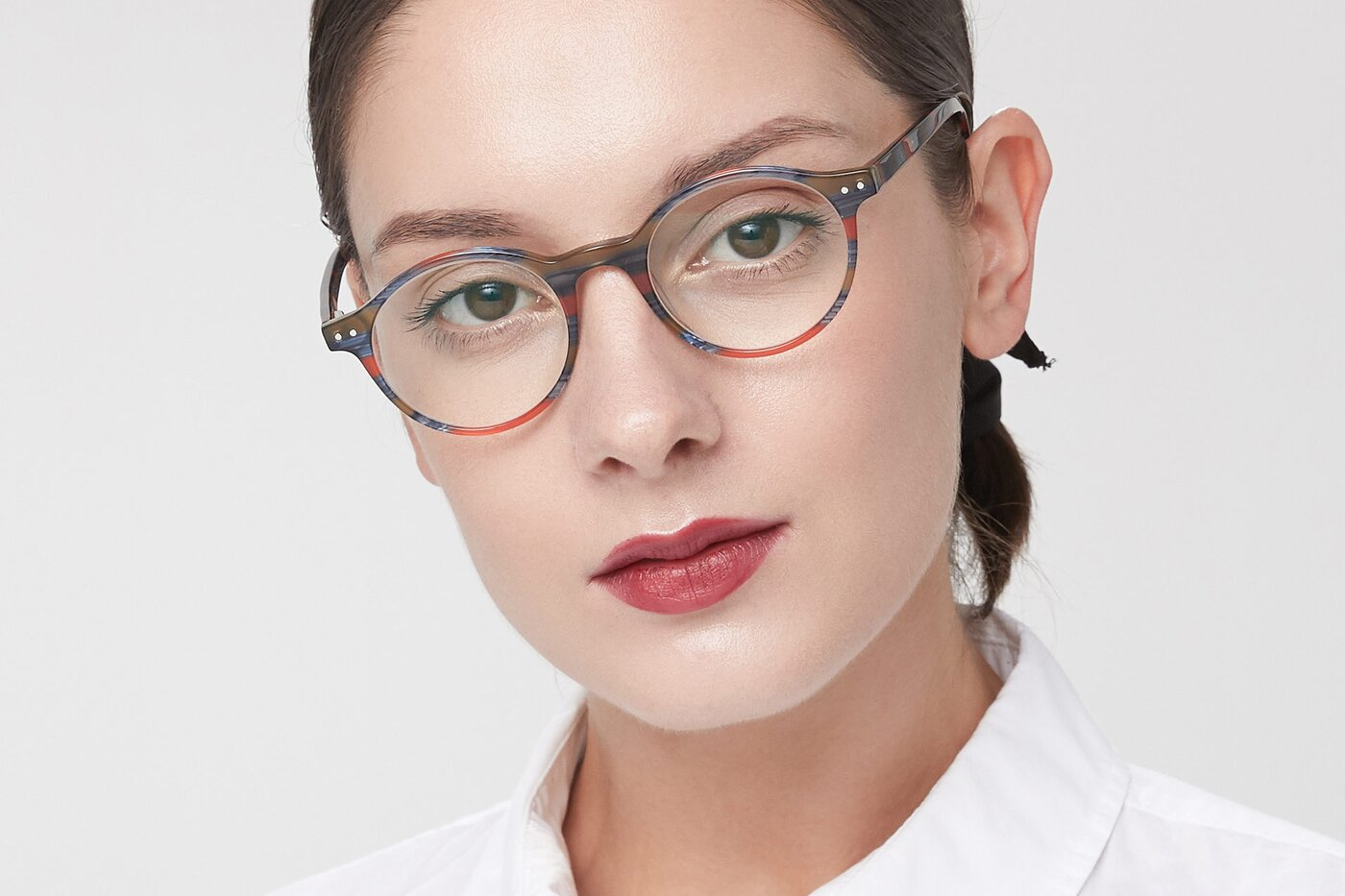 Stripe Blue Red Narrow Acetate Round Eyeglasses