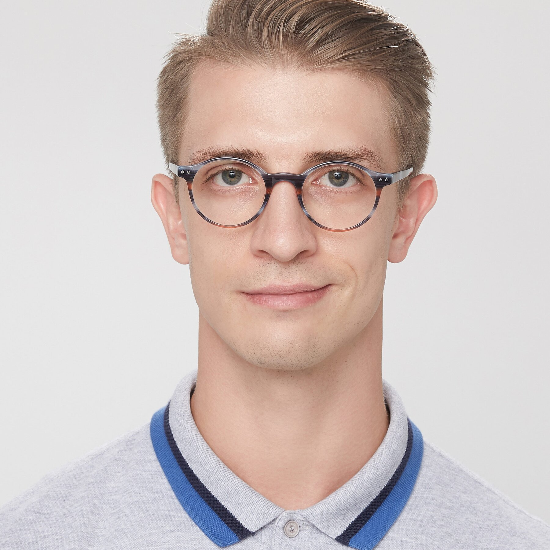 Men's lifestyle photography of 17519 in Stripe Blue Brown with Clear Eyeglass Lenses