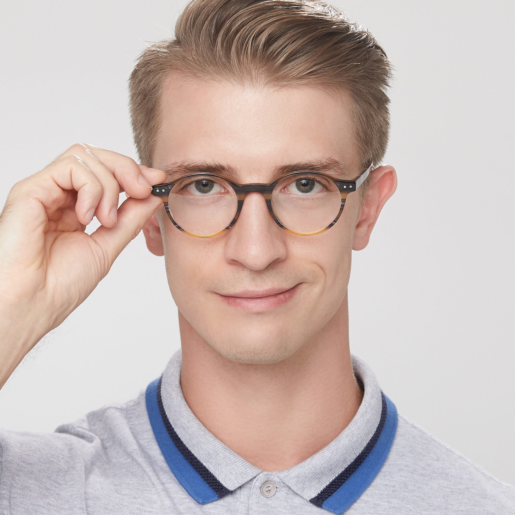 Men's lifestyle photography of 17519 in Stripe Yellow Grey with Clear Eyeglass Lenses