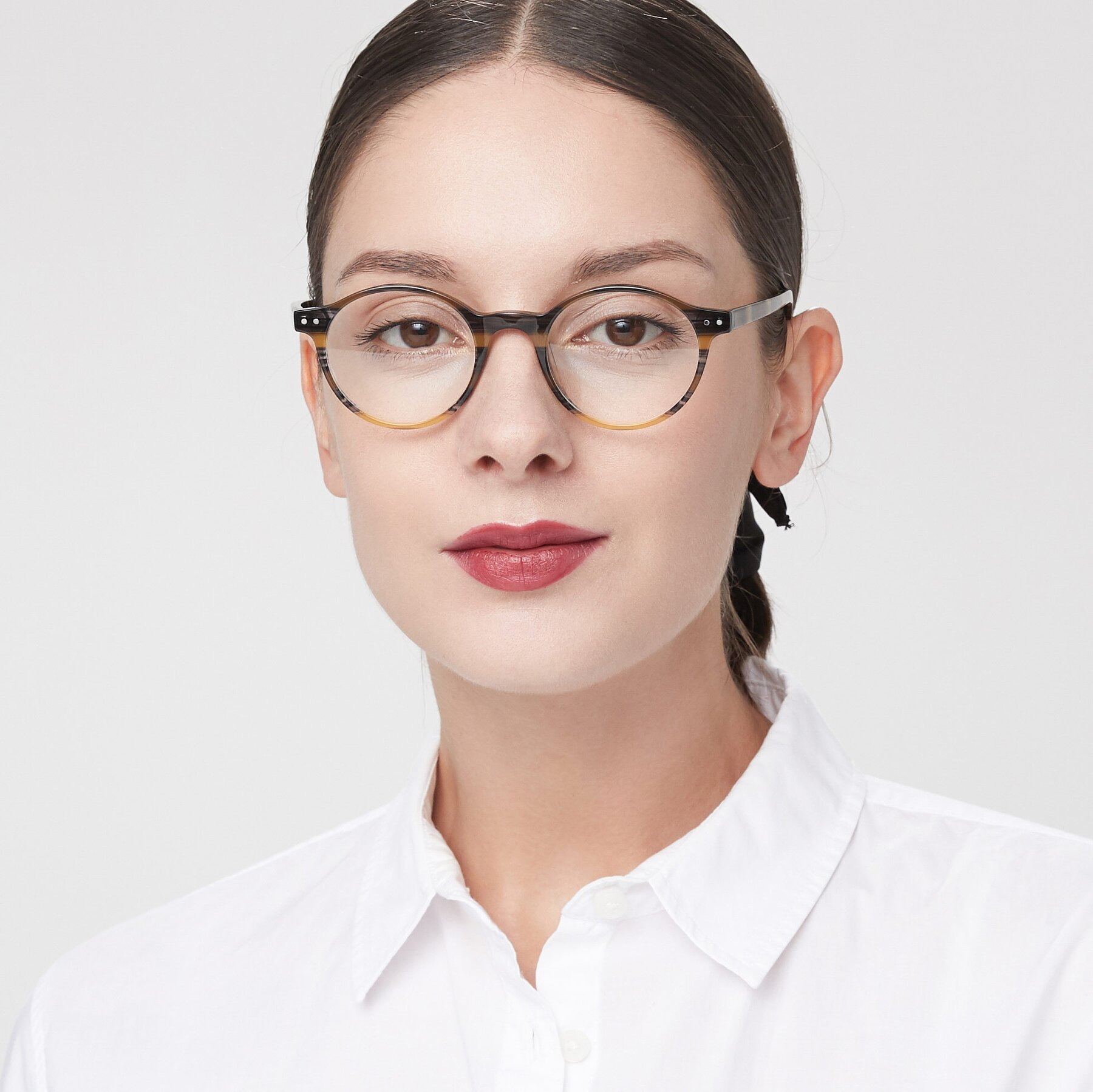 Women's lifestyle photography of 17519 in Stripe Yellow Grey with Clear Eyeglass Lenses