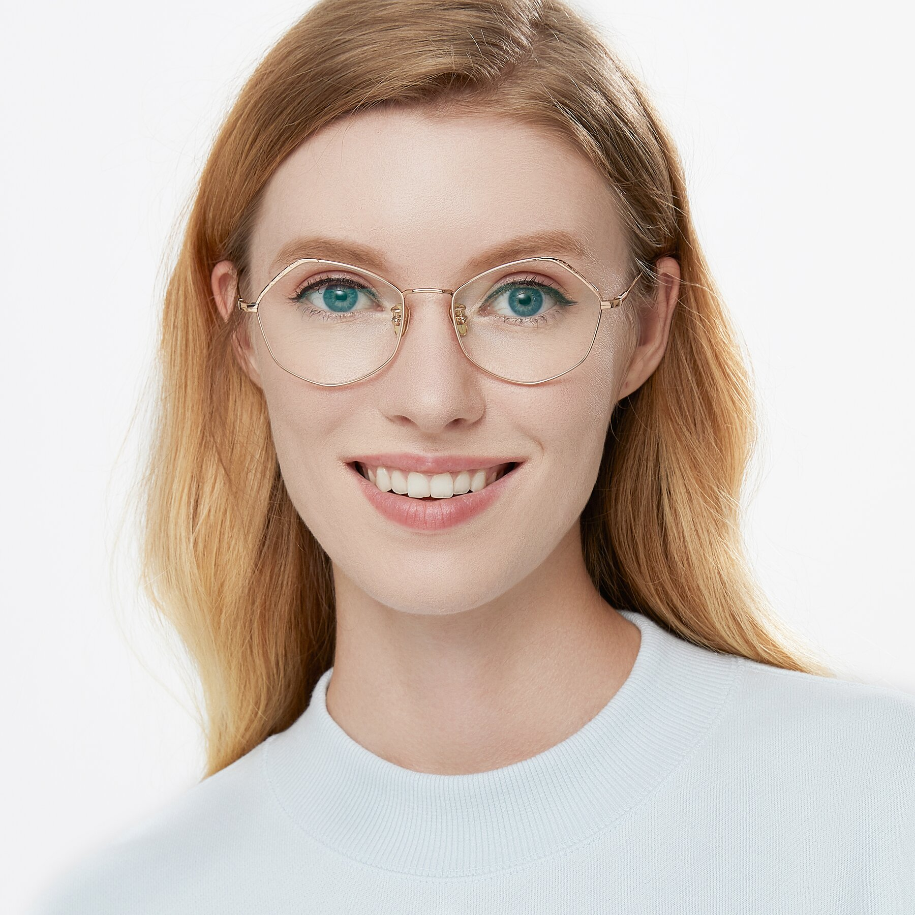 Women's lifestyle photography of Phoenix in Rose Gold with Clear Eyeglass Lenses