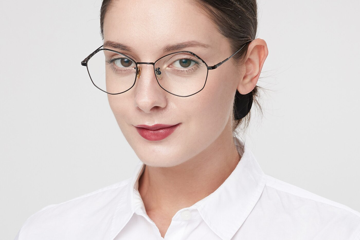 Black Geek-Chic Titanium Geometric Eyeglasses