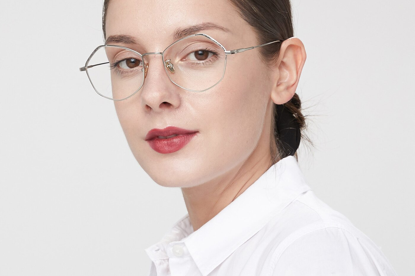 Silver Geek-Chic Titanium Geometric Eyeglasses