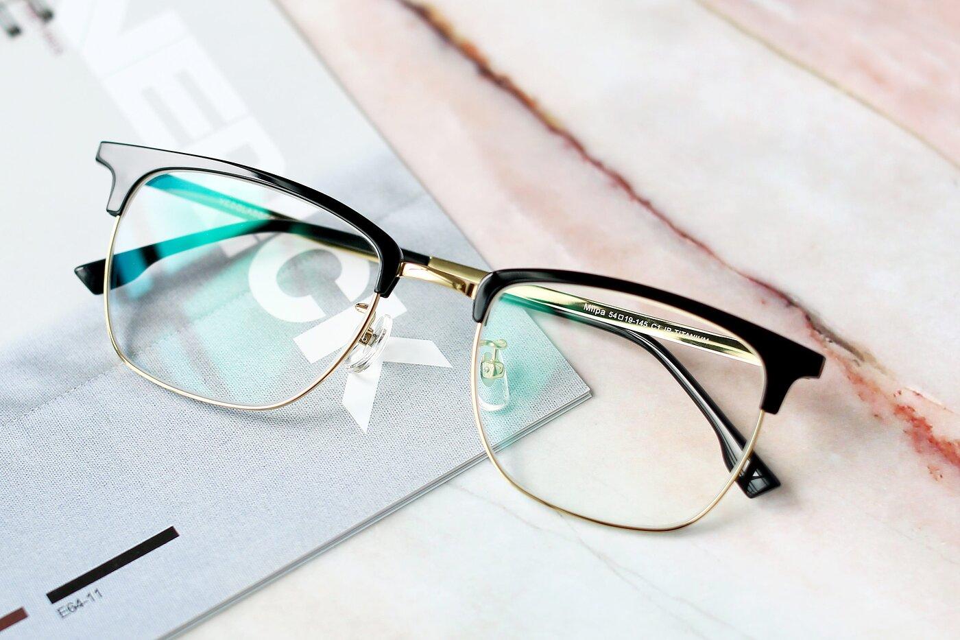 Black-Gold Classic Browline Titanium Eyeglasses