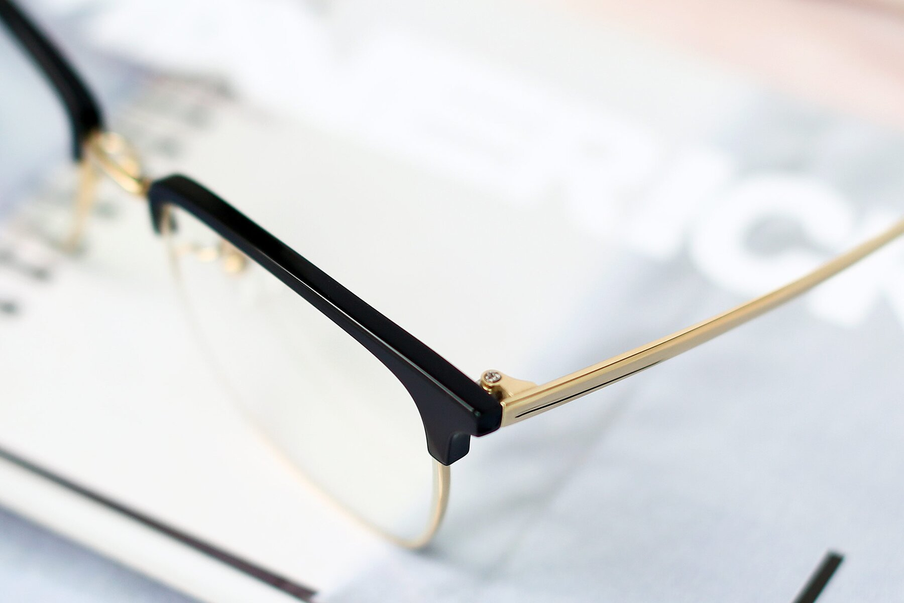 Men's lifestyle photography #3 of Milpa in Black-Gold with Clear Blue Light Blocking Lenses