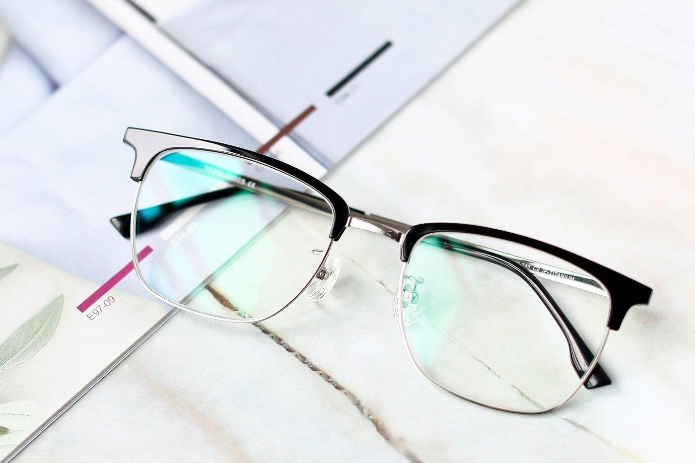 Black-Silver Classic Browline Titanium Eyeglasses