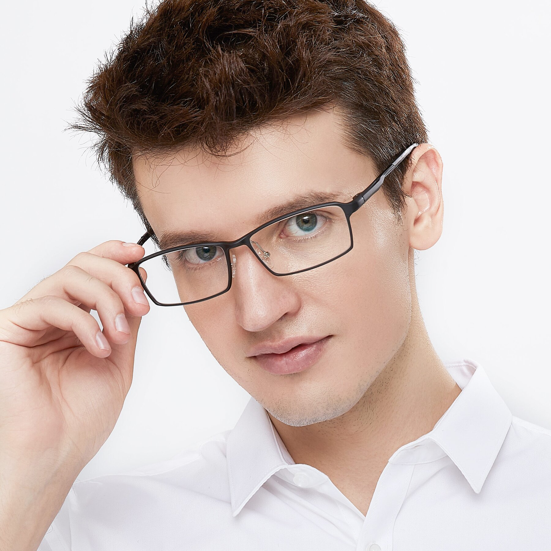 Men's lifestyle photography of CX6287 in Black with Clear Blue Light Blocking Lenses