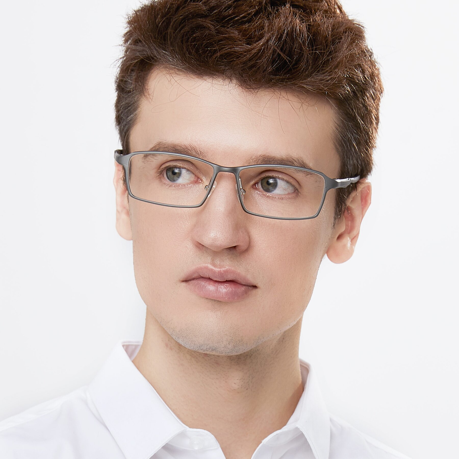 Men's lifestyle photography of CX6287 in Gunmental with Clear Eyeglass Lenses