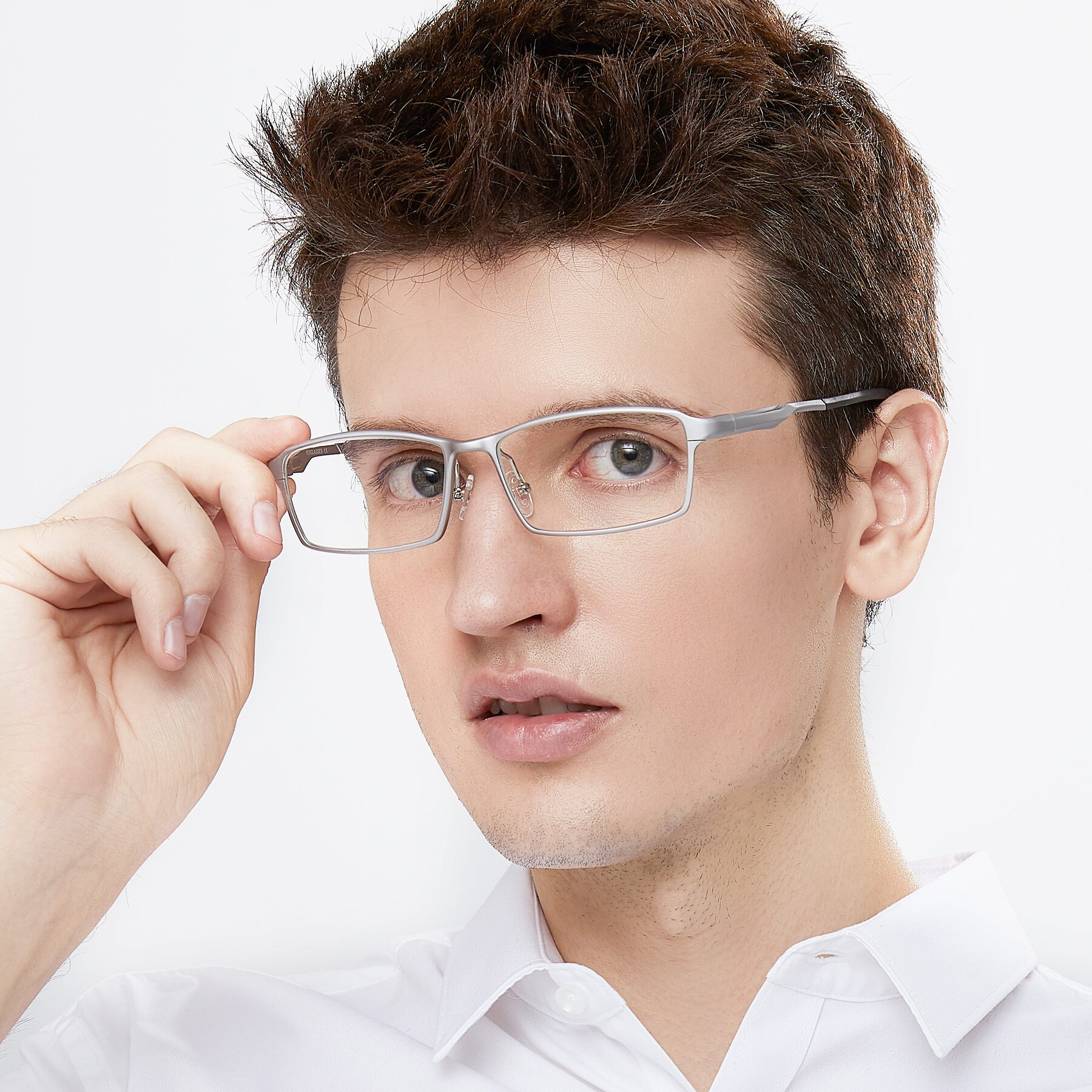 Men's lifestyle photography of CX6287 in Silver with Clear Blue Light Blocking Lenses