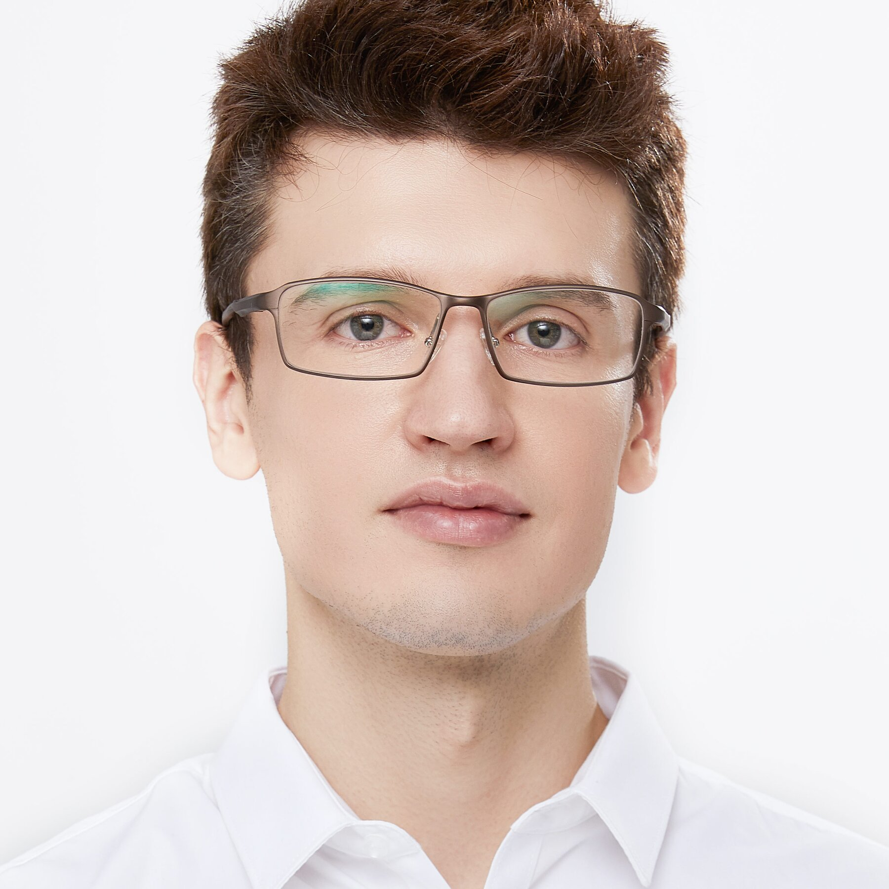 Men's lifestyle photography of CX6287 in Coffee with Clear Eyeglass Lenses