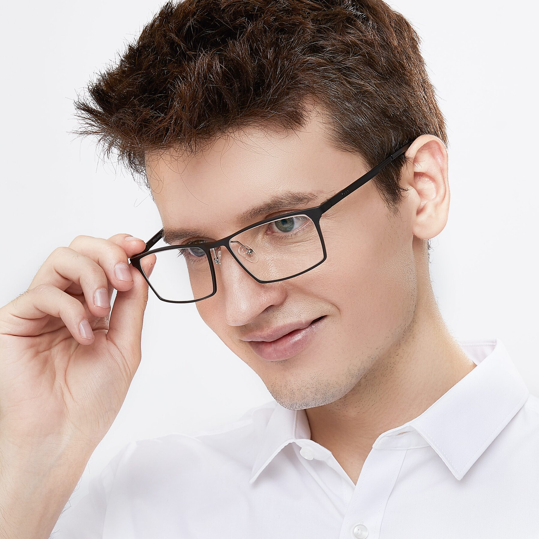 Men's lifestyle photography of CX6341 in Black with Clear Eyeglass Lenses