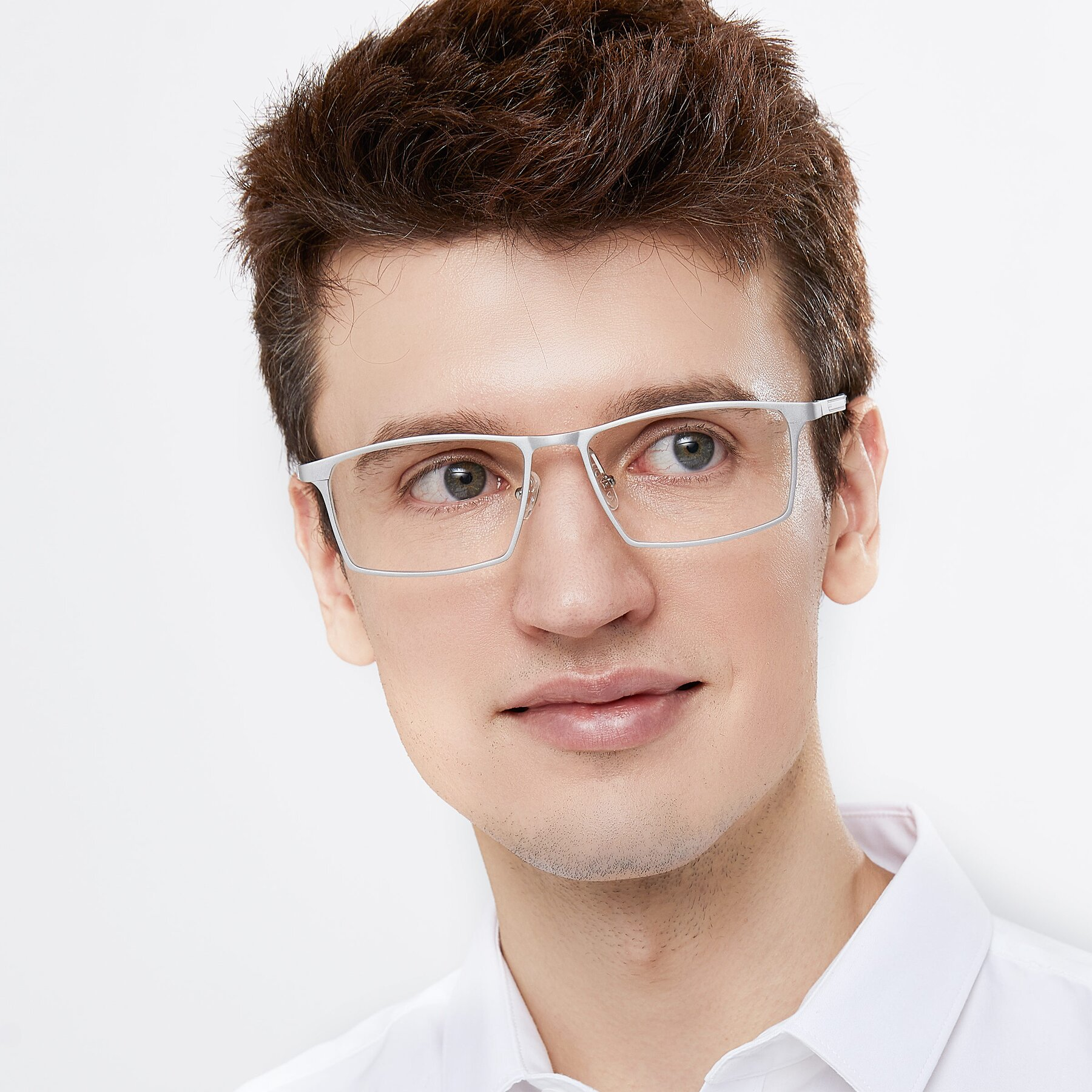 Men's lifestyle photography of CX6341 in Silver with Clear Eyeglass Lenses