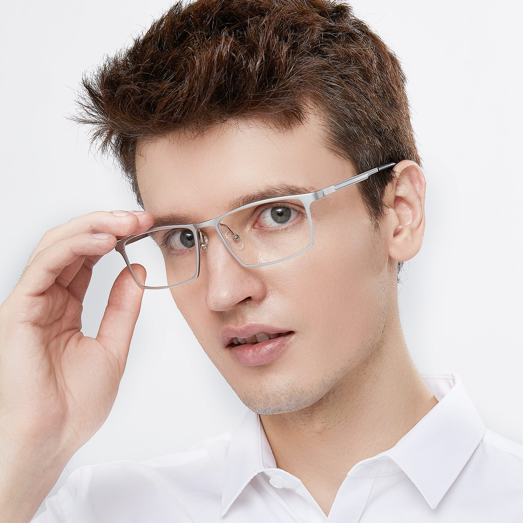Men's lifestyle photography of CX6341 in Silver with Clear Blue Light Blocking Lenses