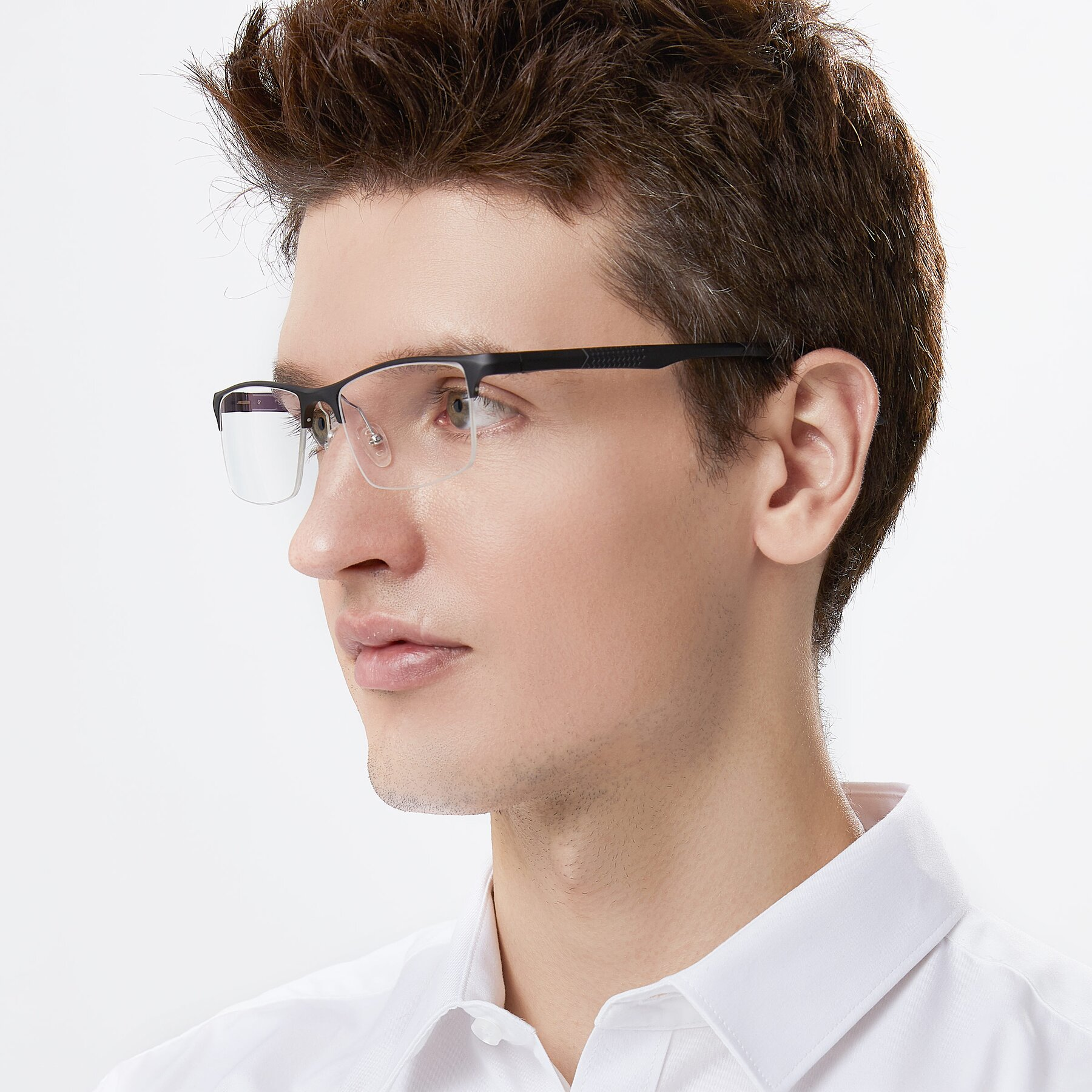 Men's lifestyle photography of XL9021 in Black with Clear Eyeglass Lenses