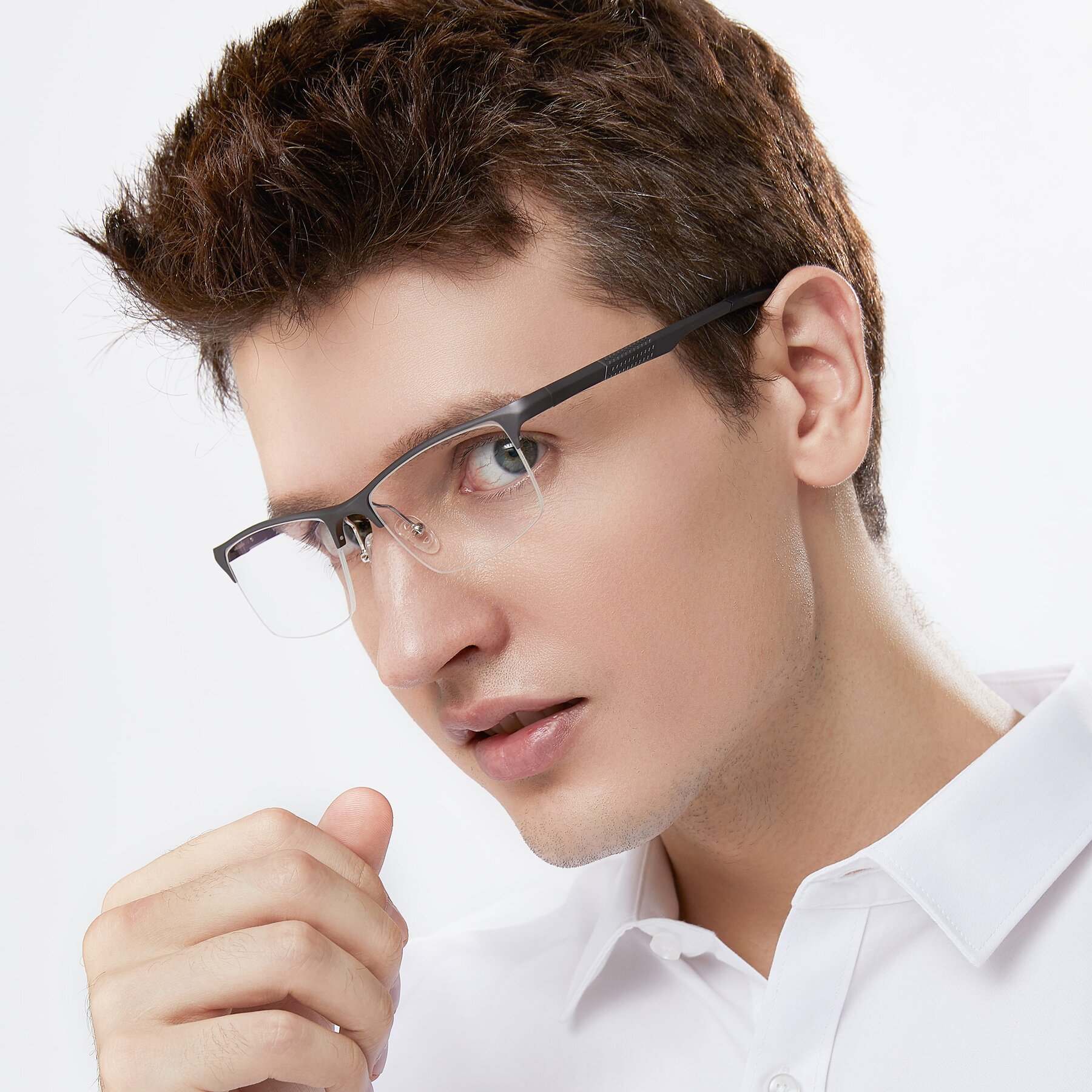 Men's lifestyle photography of XL9021 in Gunmental with Clear Eyeglass Lenses