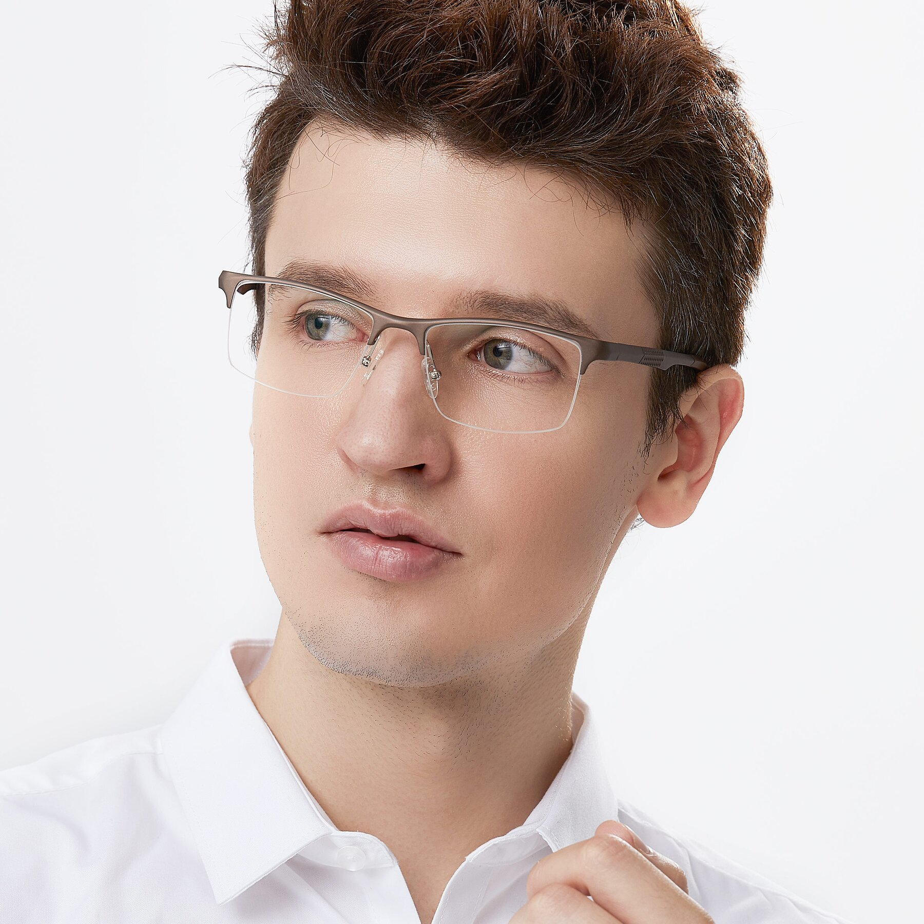 Men's lifestyle photography of XL9021 in Coffee with Clear Eyeglass Lenses