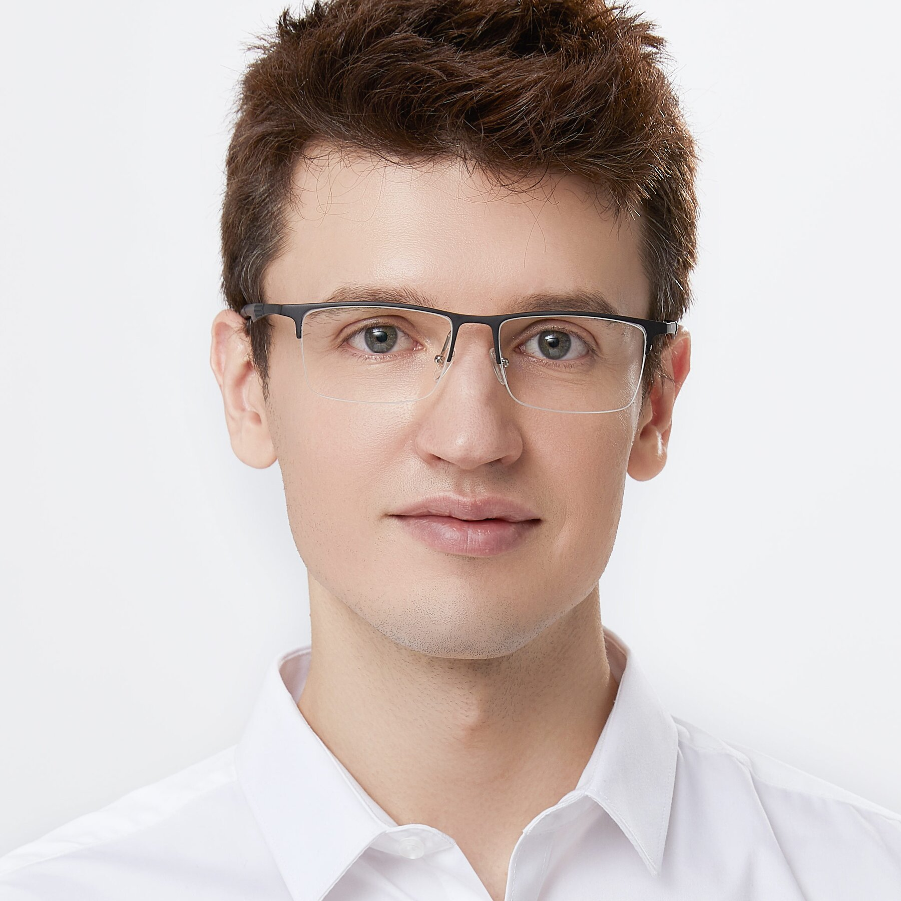 Men's lifestyle photography of XL9020 in Black with Clear Eyeglass Lenses