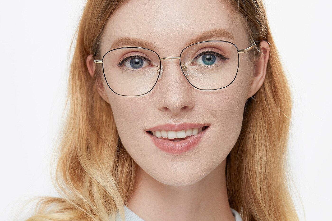 Black-Gold Oversized Titanium Square Eyeglasses