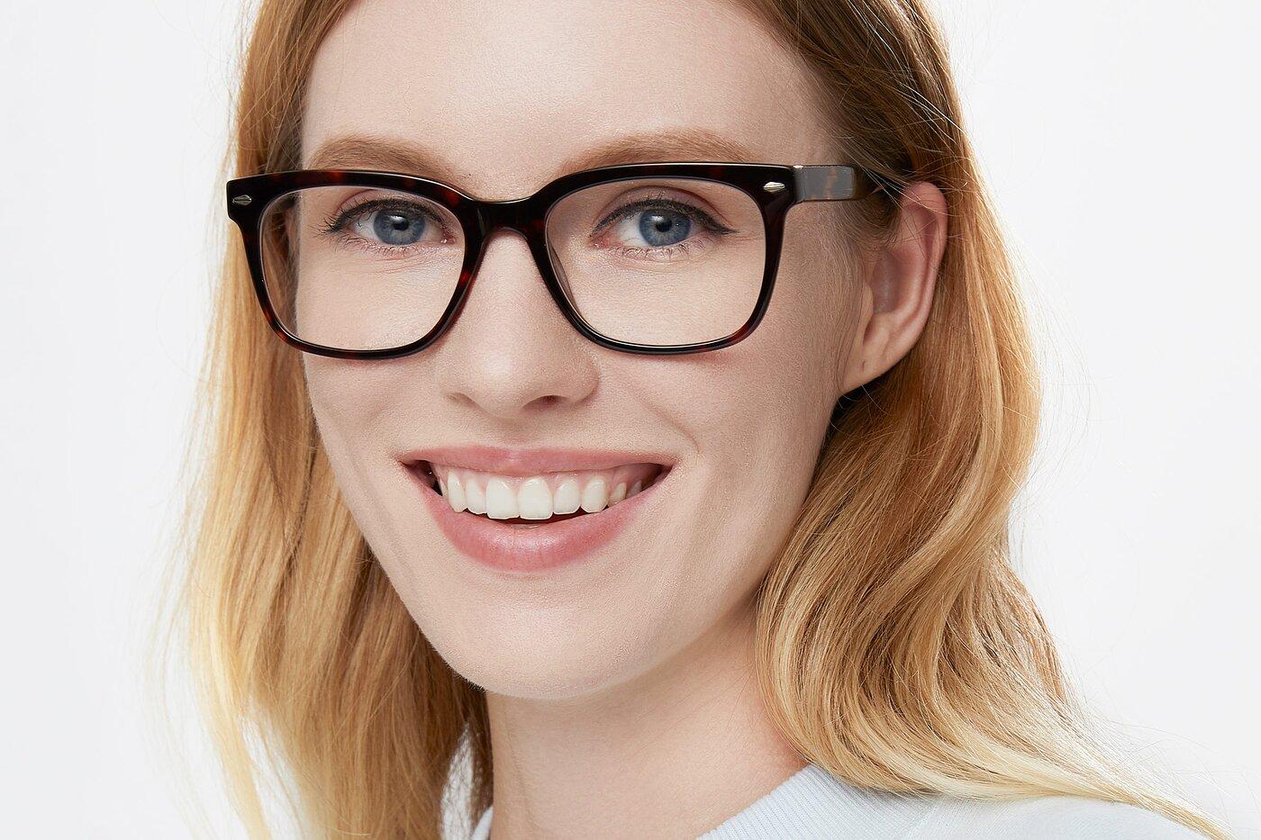 Tortoise Wide Horn-Rimmed Acetate Eyeglasses