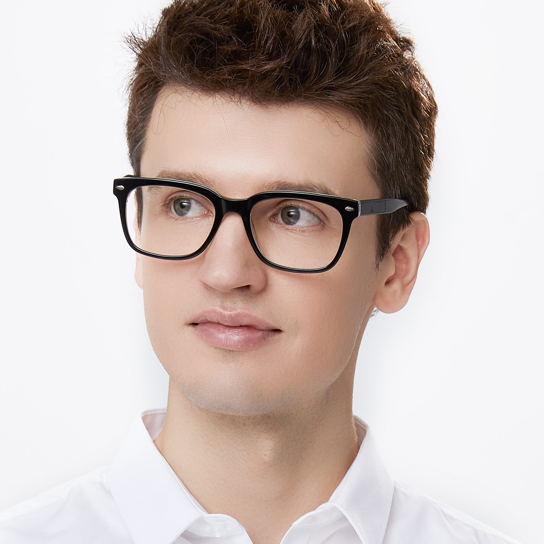 Men's lifestyle photography of 1052 in Black-Clear with Clear Eyeglass Lenses