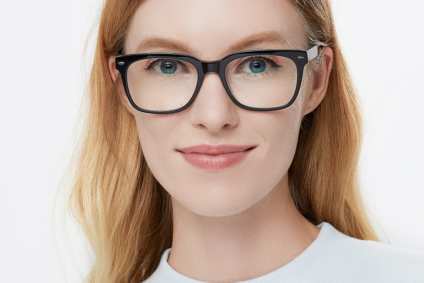 Black-Clear Wide Horn-Rimmed Acetate Eyeglasses
