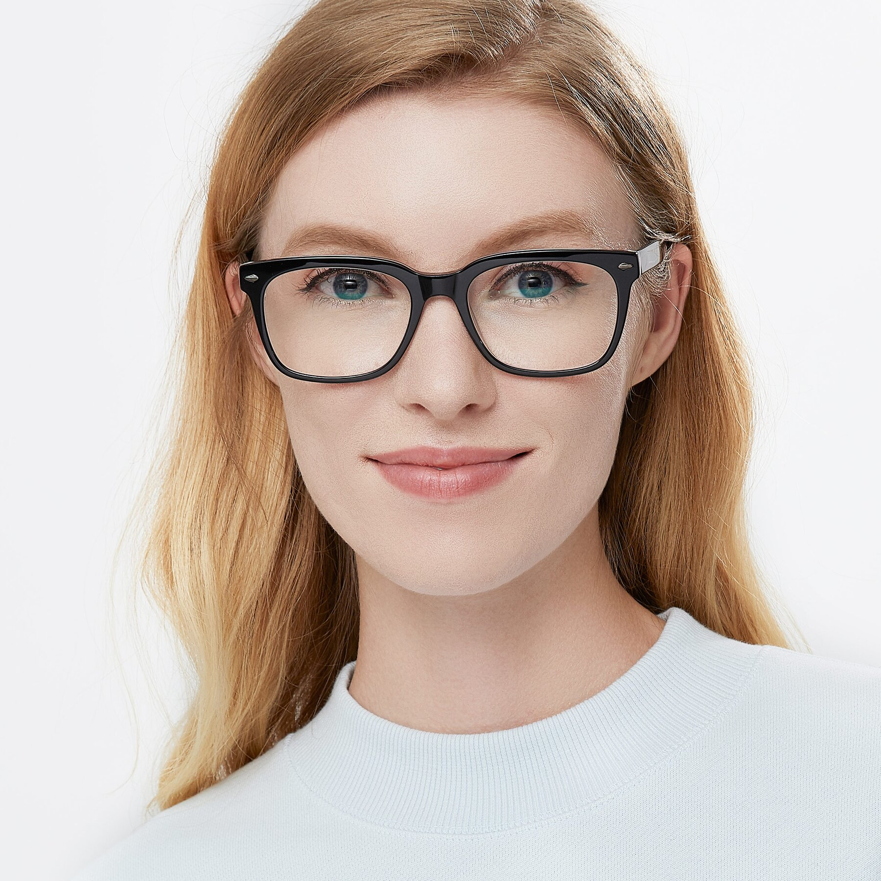 Women's lifestyle photography of 1052 in Black-Clear with Clear Eyeglass Lenses