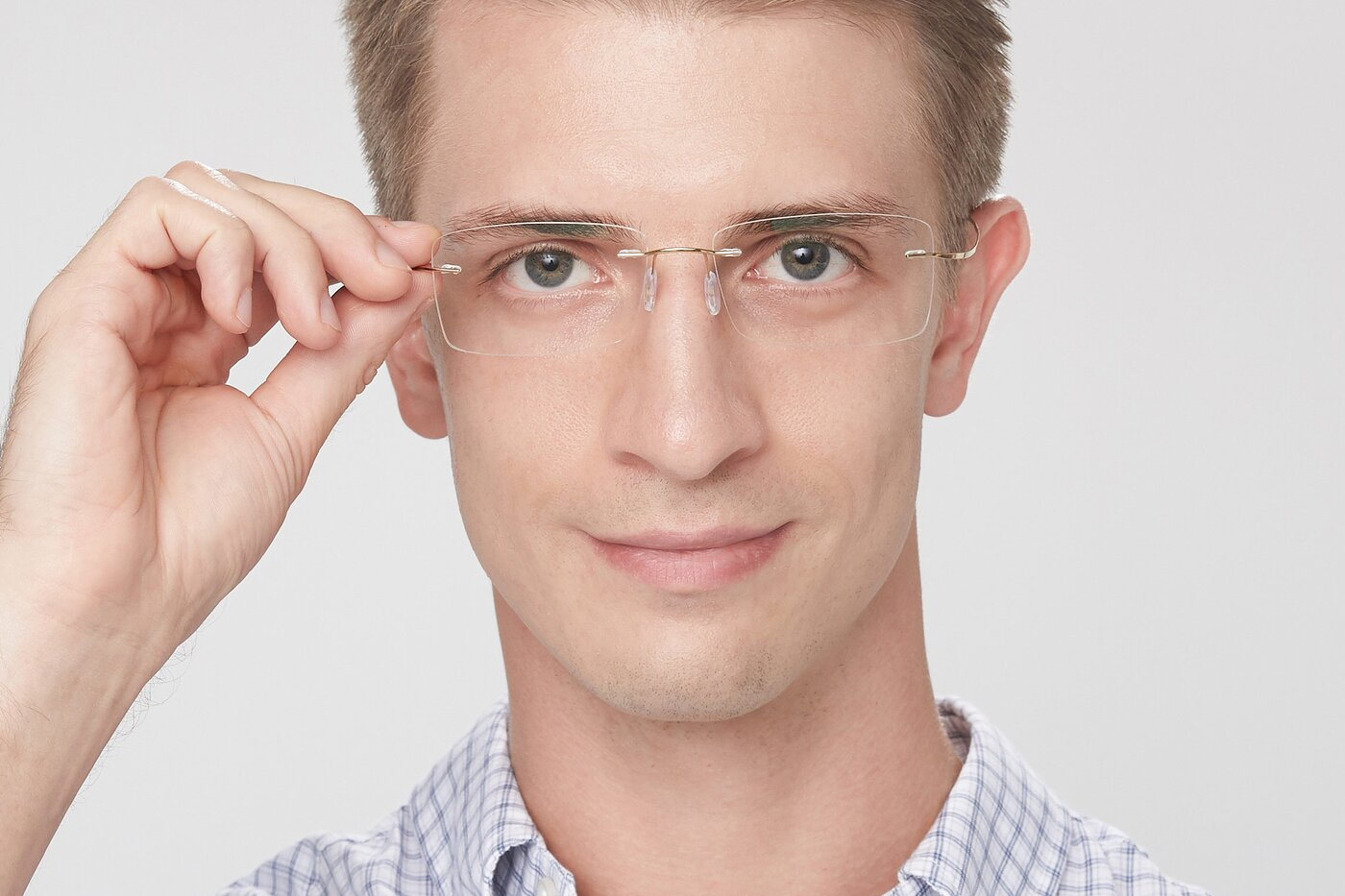 Gold Flexible Rectangle Rimless Eyeglasses