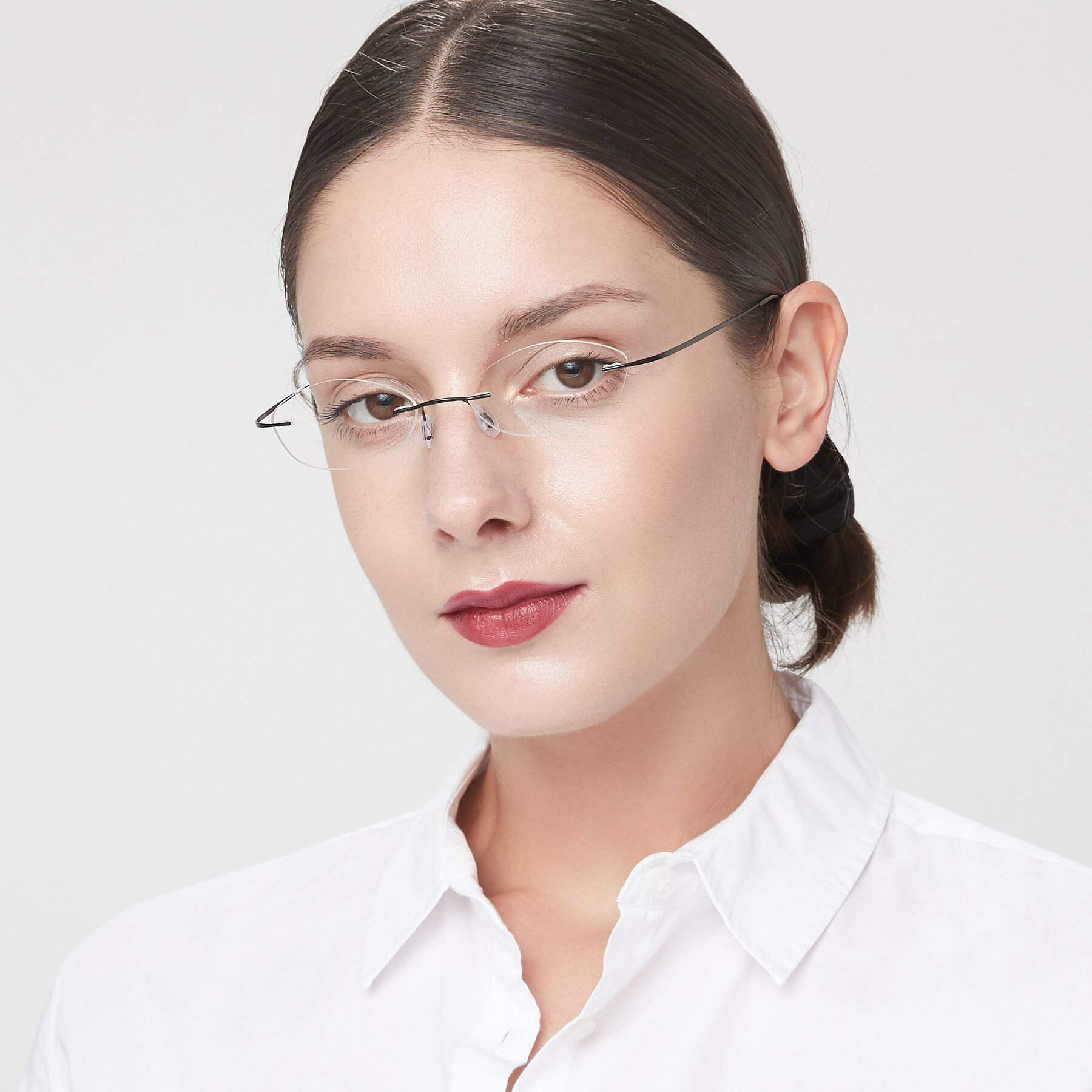Women's lifestyle photography of Marv in Black with Clear Eyeglass Lenses