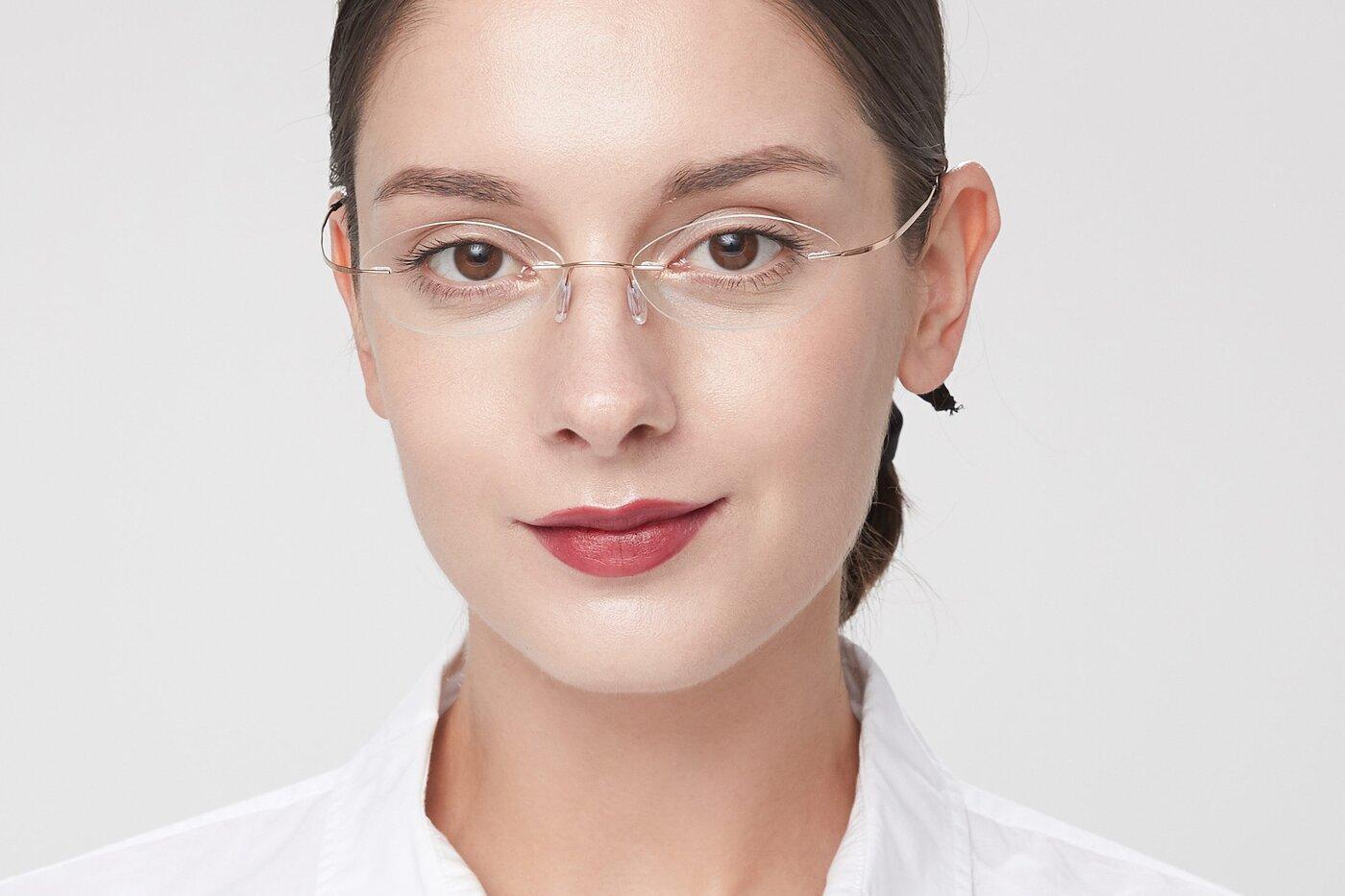 Rose Gold Flexible Oval Rimless Eyeglasses