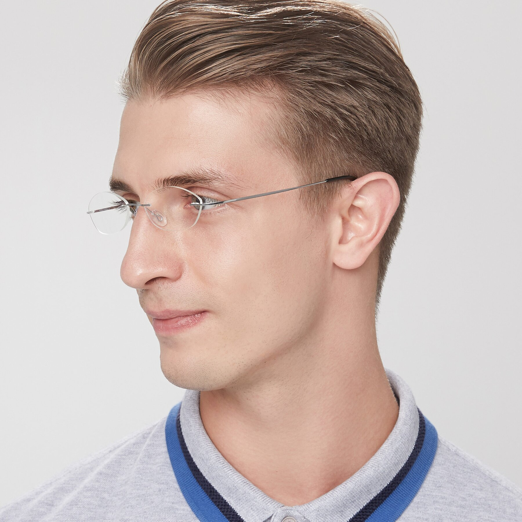Men's lifestyle photography of Marv in Silver with Clear Blue Light Blocking Lenses