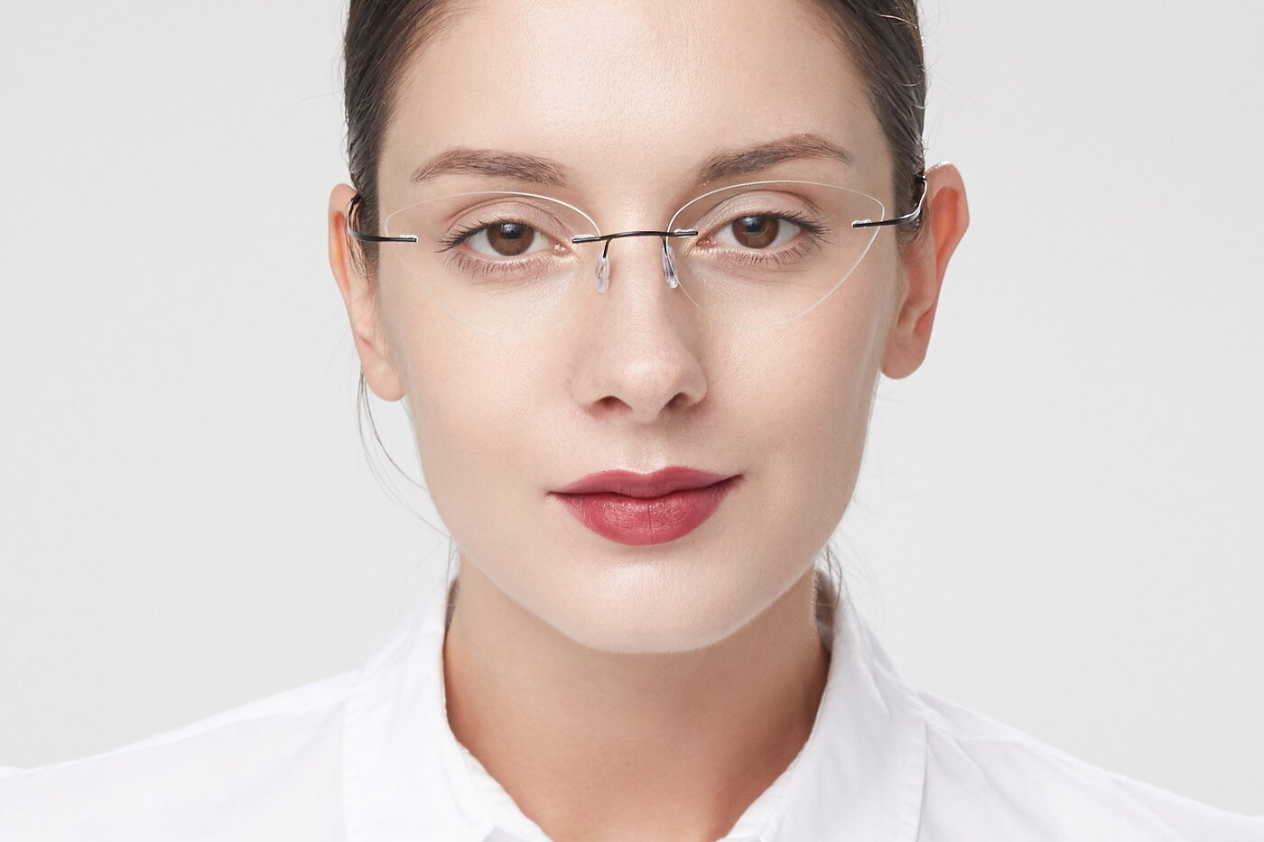 Black Geek-Chic Cat-Eye Rimless Eyeglasses