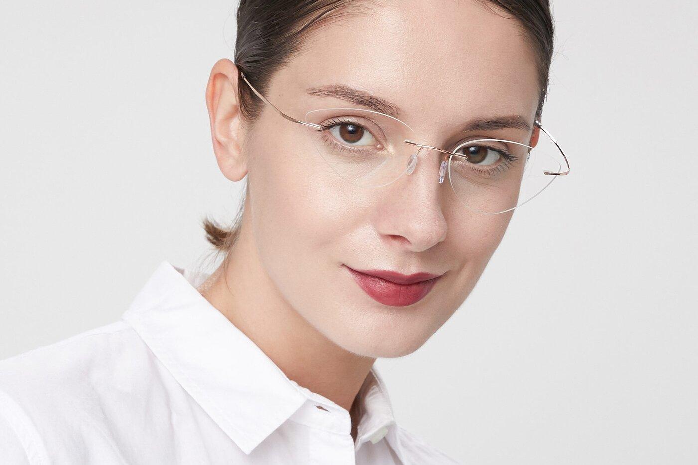 Rose Gold Geek-Chic Cat-Eye Rimless Eyeglasses
