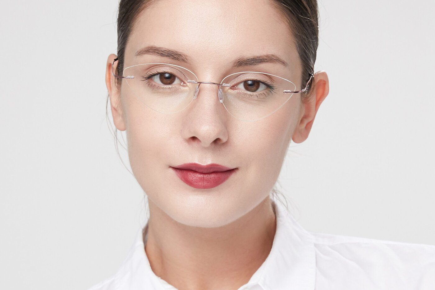 Light Pink Geek-Chic Cat-Eye Rimless Eyeglasses