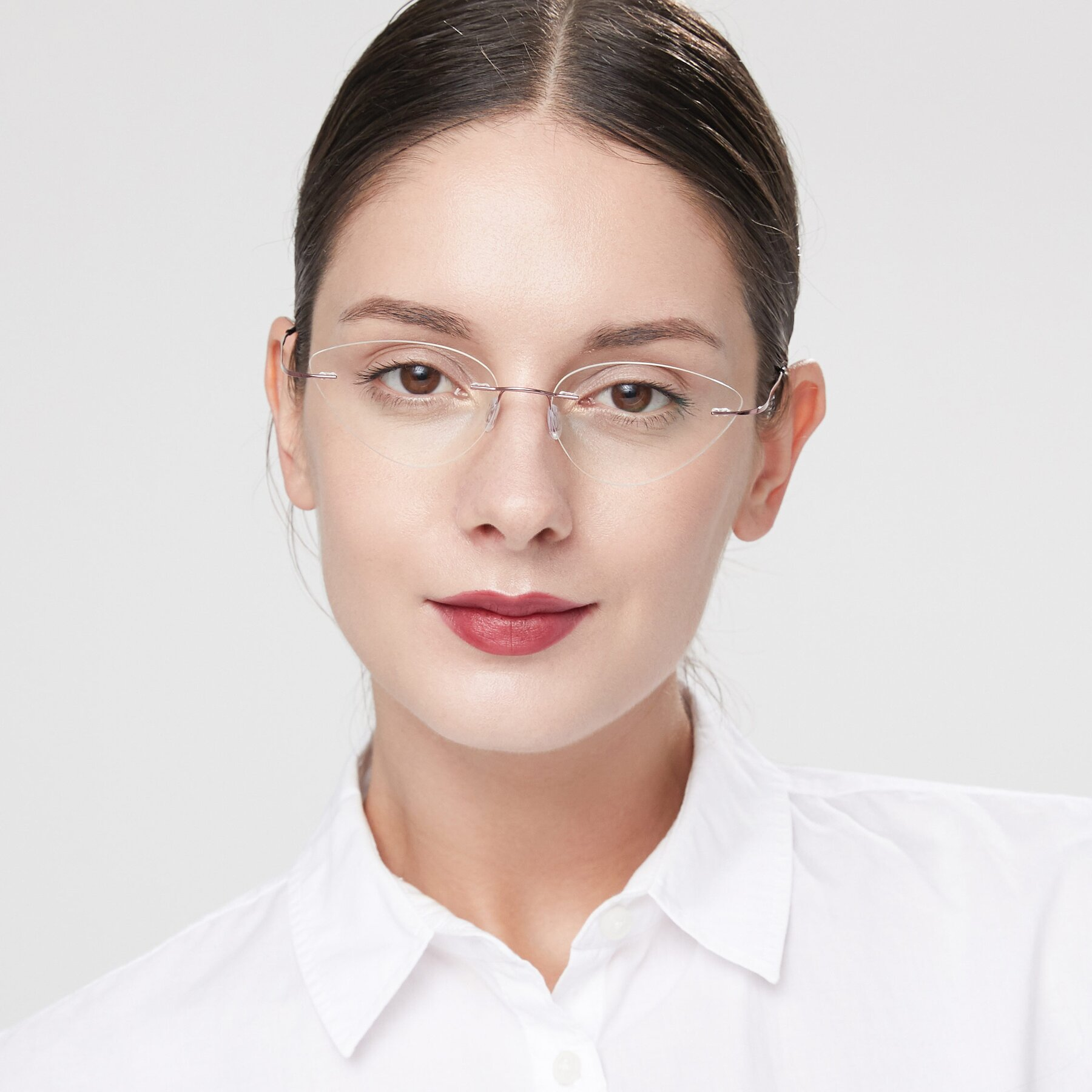 Women's lifestyle photography of Pat in Light Pink with Clear Eyeglass Lenses