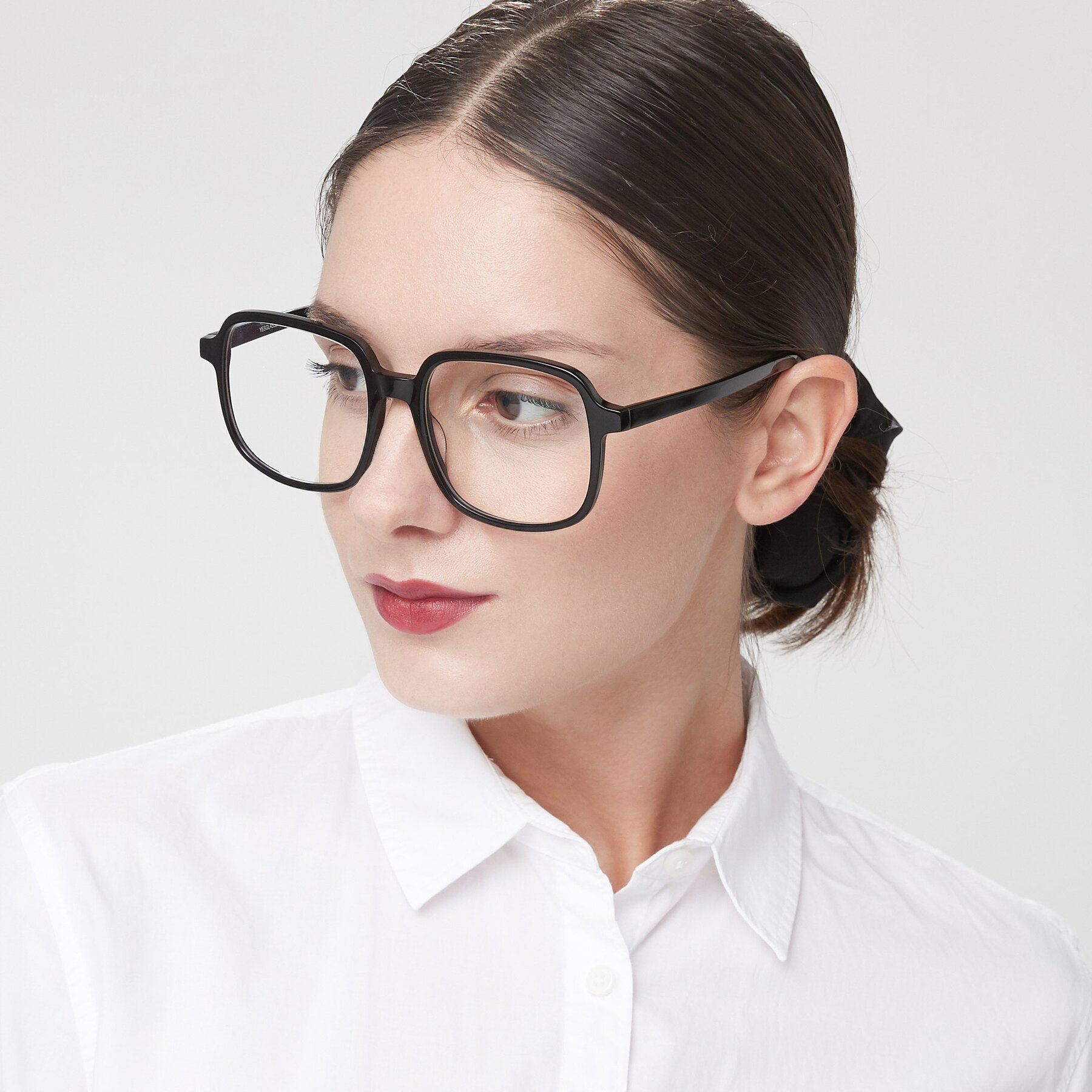 Women's lifestyle photography of Water in Black with Clear Eyeglass Lenses