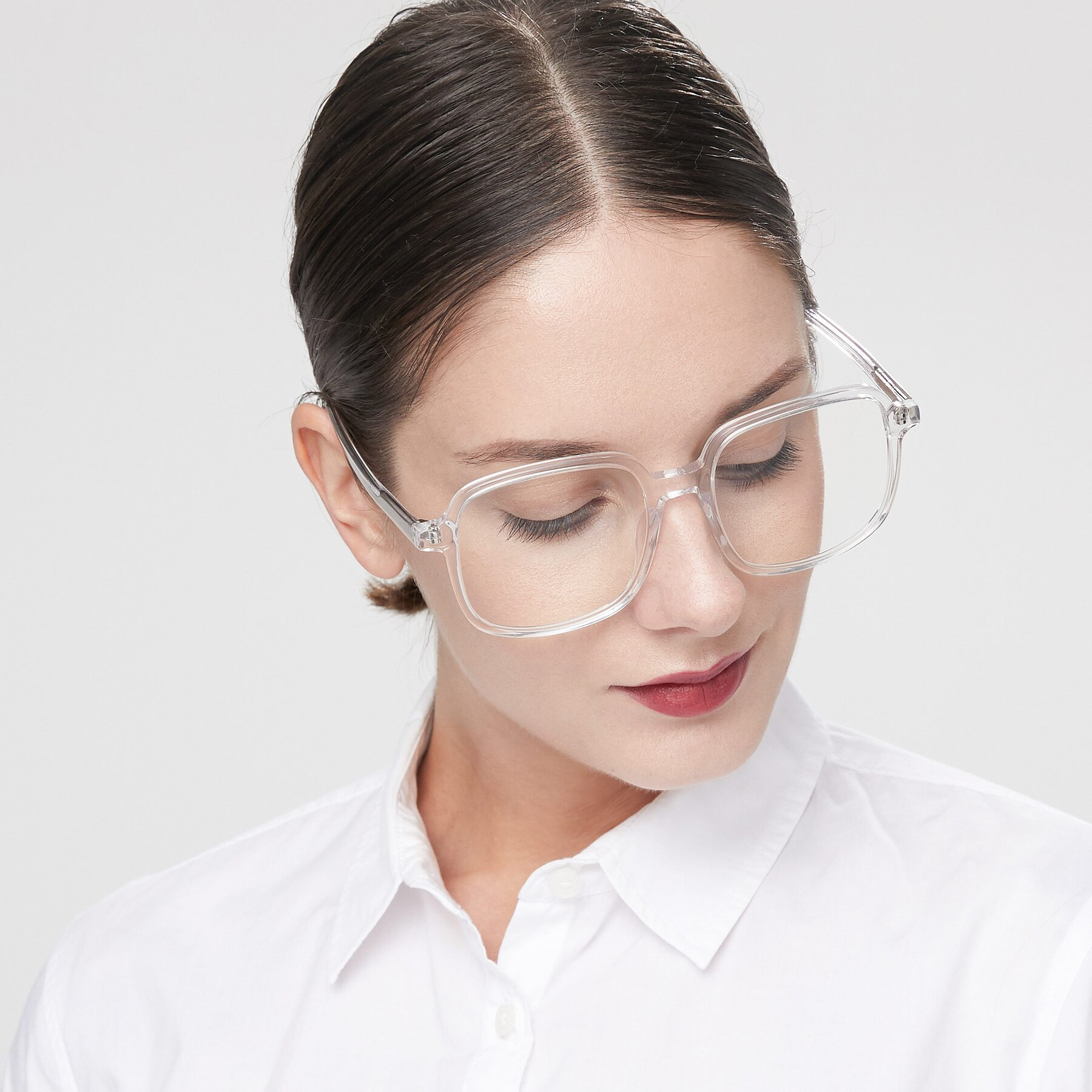 Women's lifestyle photography of Water in Clear with Clear Eyeglass Lenses