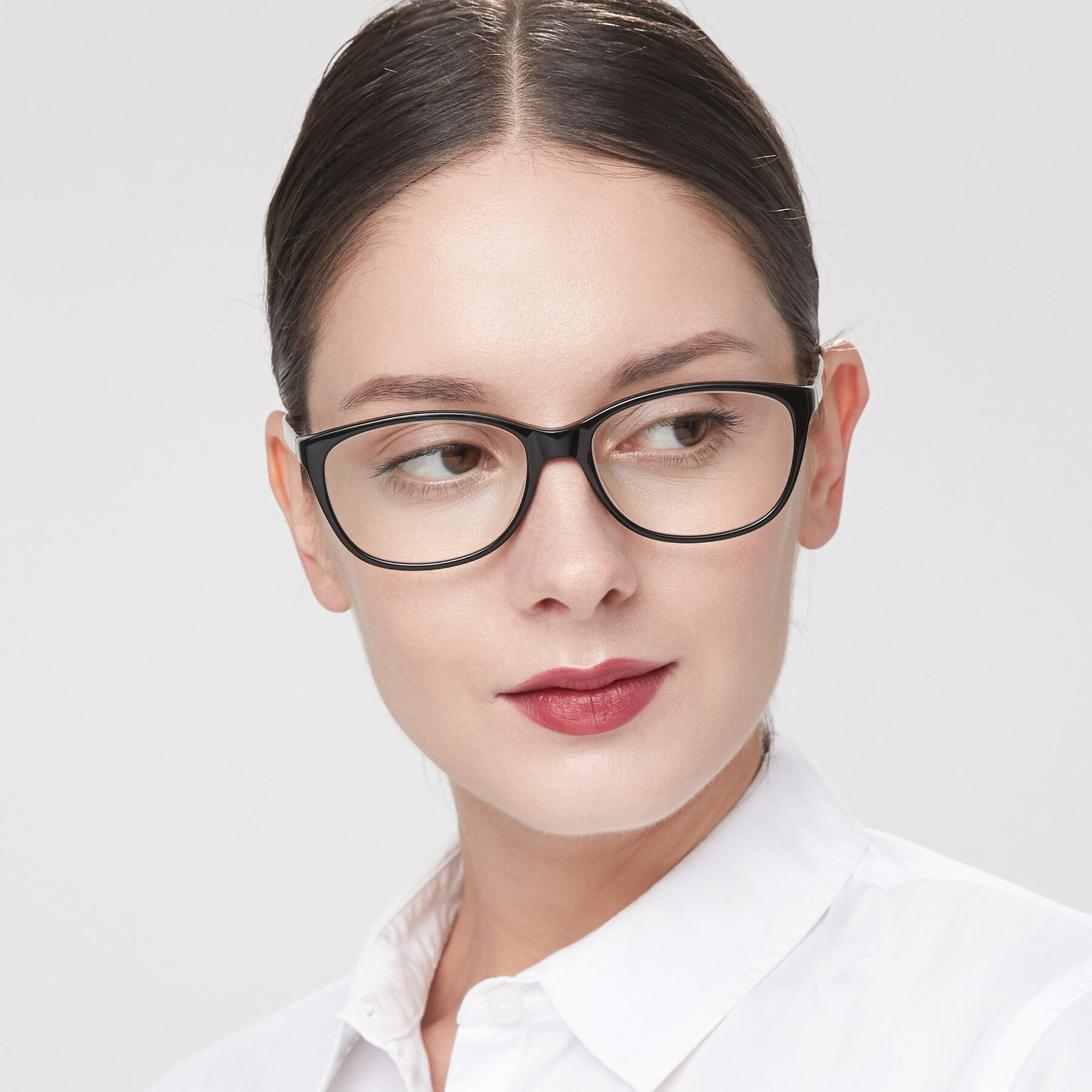Women's lifestyle photography of Xavier in Black with Clear Eyeglass Lenses