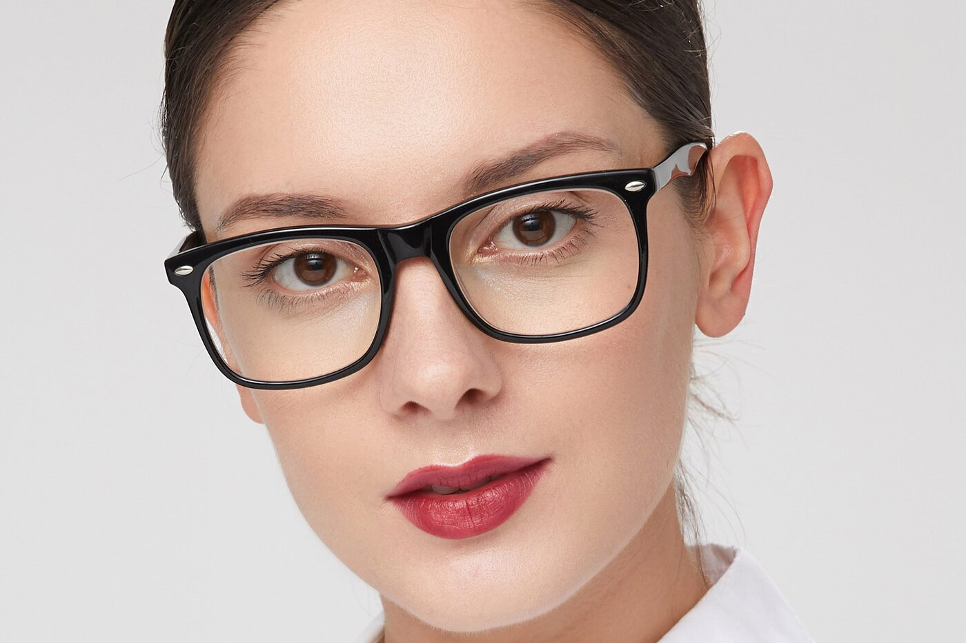 Black Horn-Rimmed Acetate Square Eyeglasses