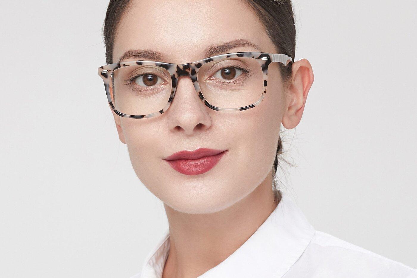 Havana Horn-Rimmed Acetate Square Eyeglasses
