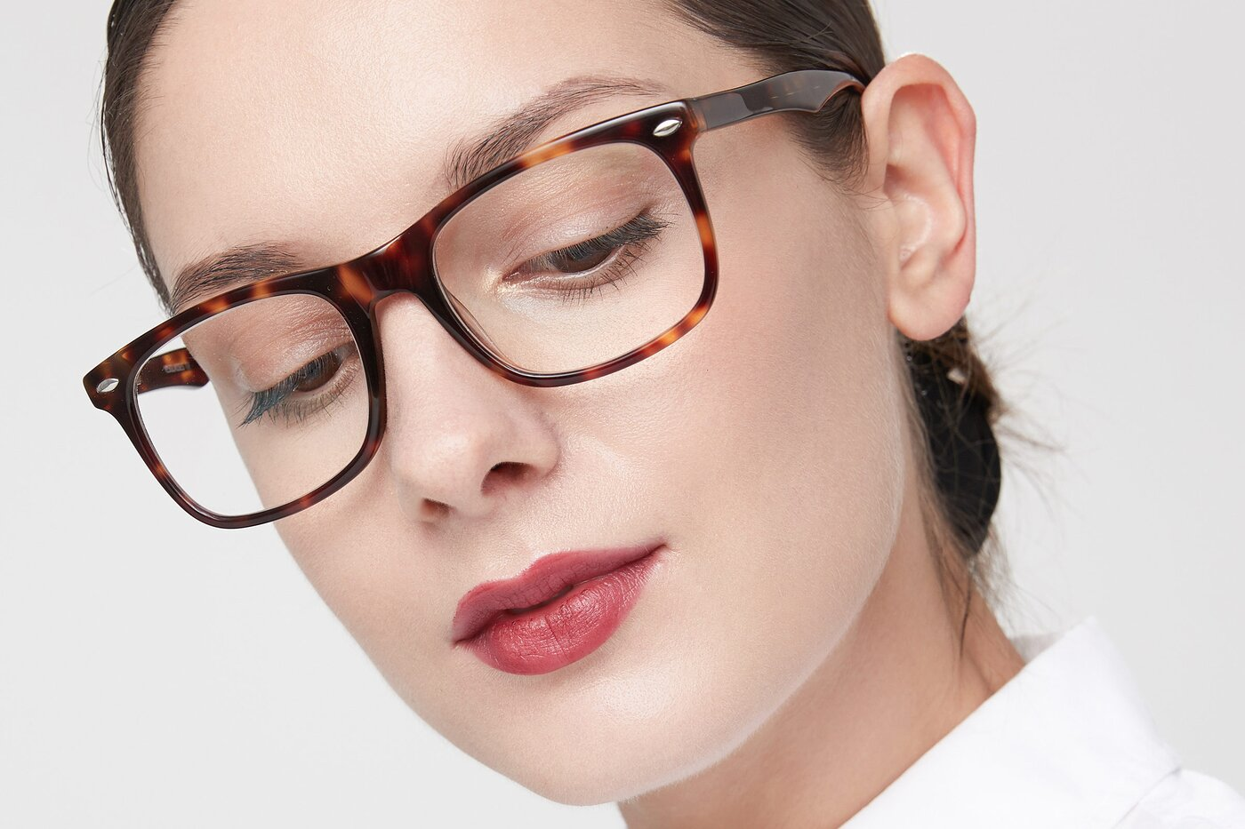 Yellow Tortoise Horn-Rimmed Acetate Square Eyeglasses