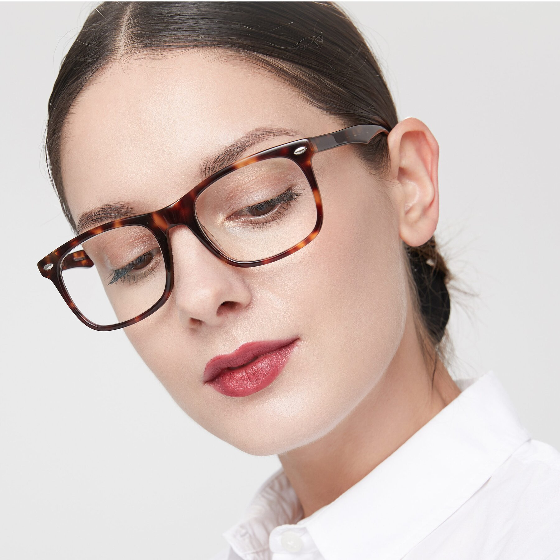 Women's lifestyle photography of 007 in Yellow Tortoise with Clear Eyeglass Lenses