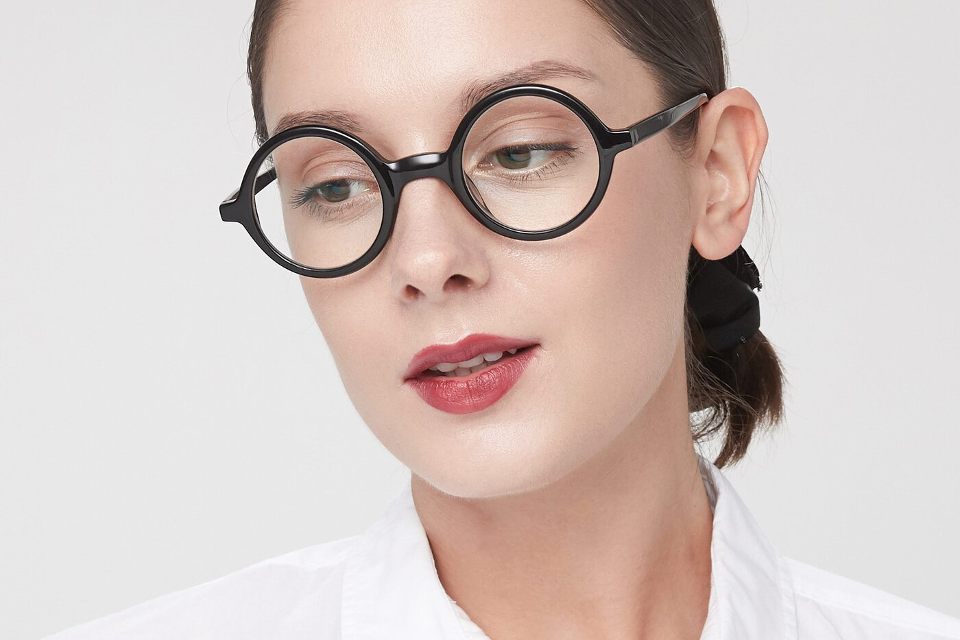 Black Narrow Retro-Vintage Round Eyeglasses