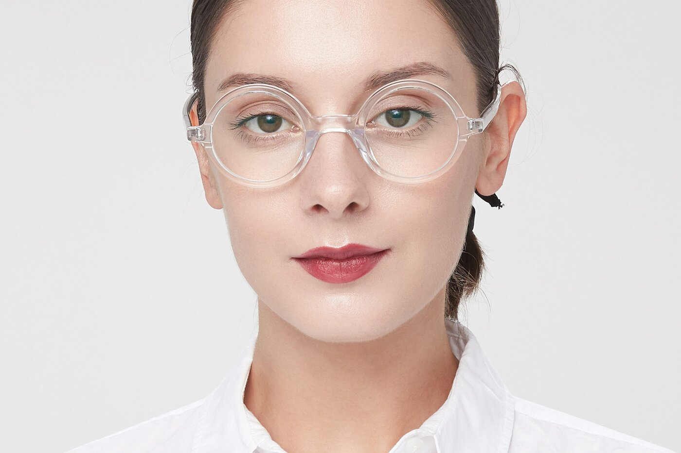 Clear Narrow Retro-Vintage Round Eyeglasses