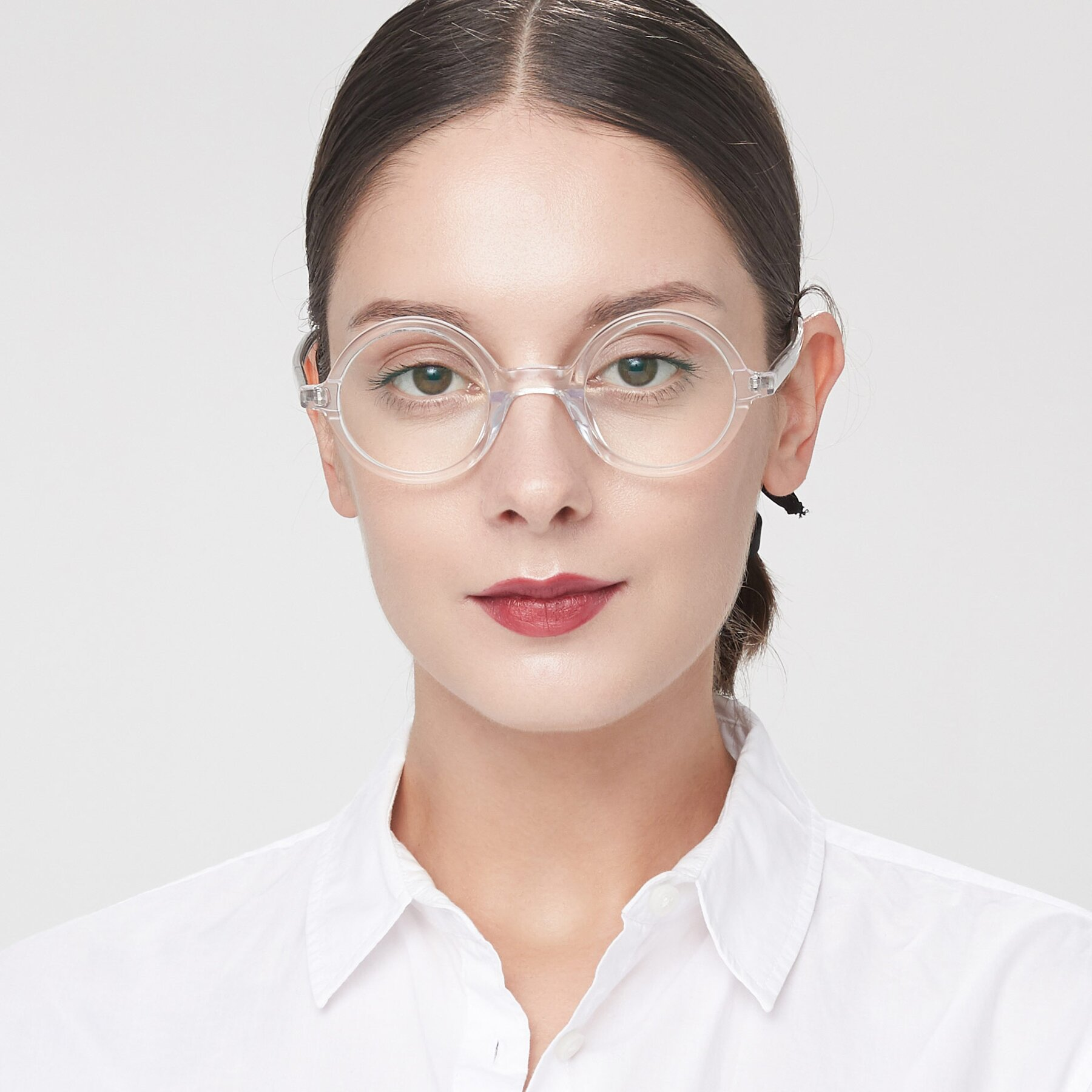 Women's lifestyle photography of Chaplin in Clear with Clear Blue Light Blocking Lenses