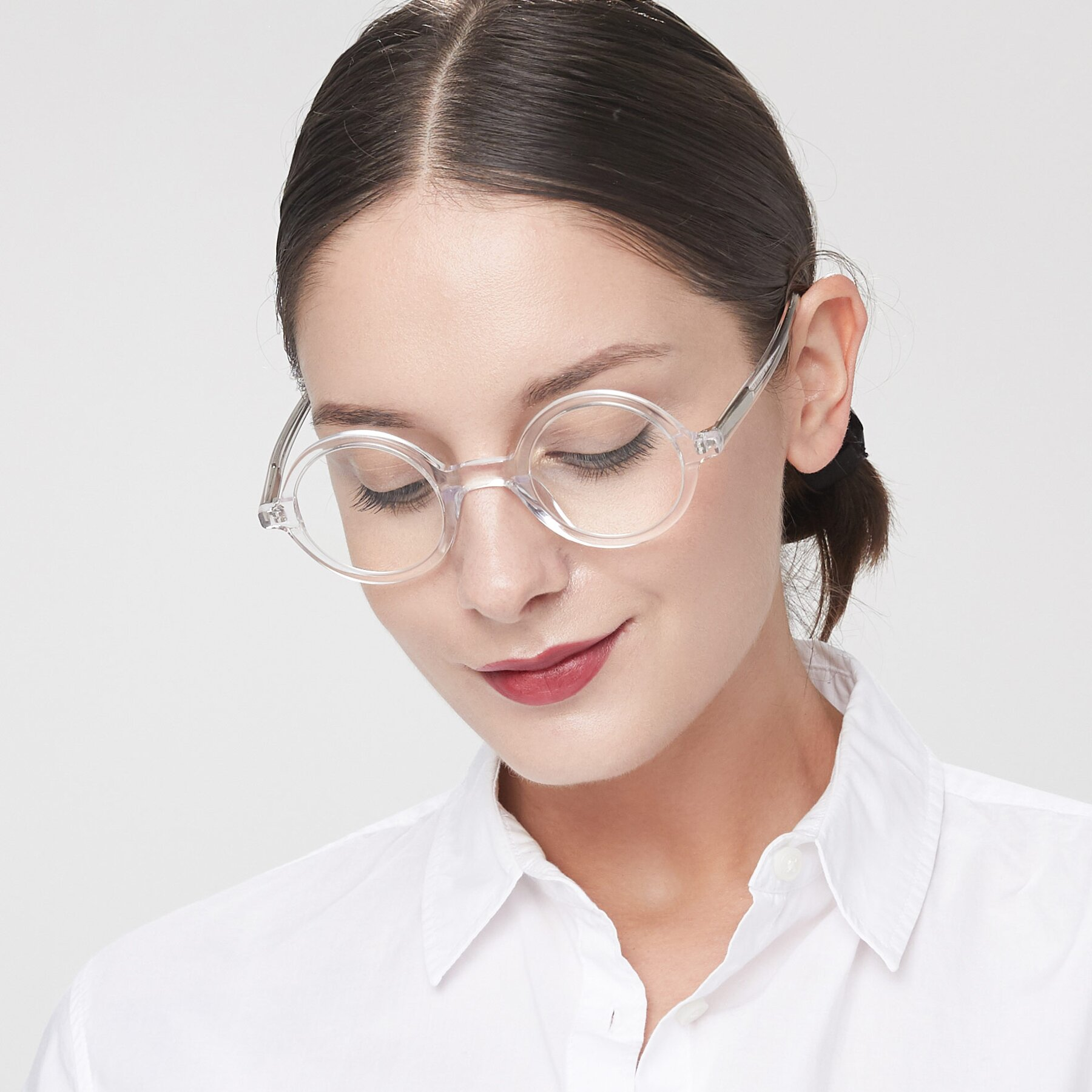 Women's lifestyle photography of Chaplin in Clear with Clear Eyeglass Lenses