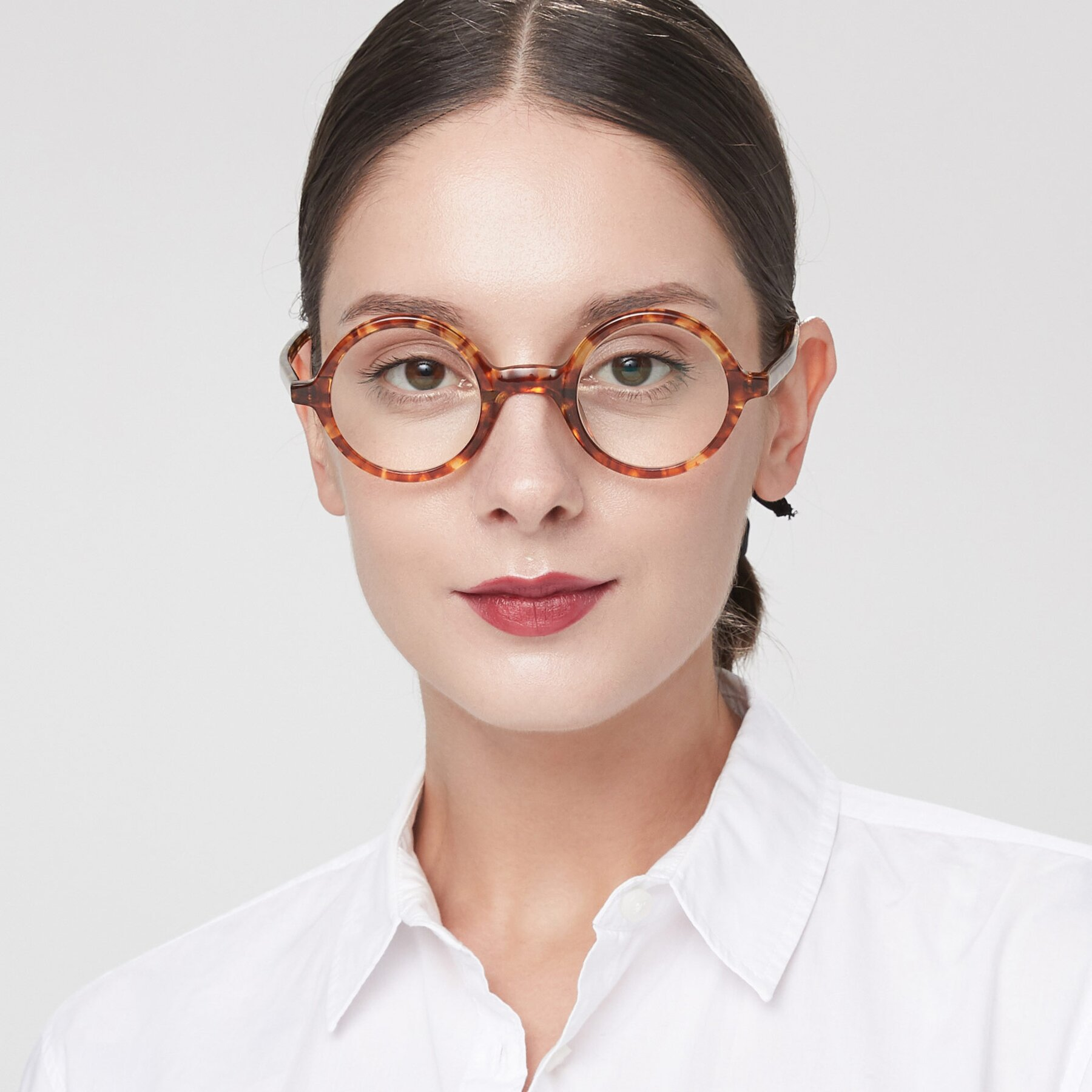 Women's lifestyle photography of Chaplin in Tortoise with Clear Eyeglass Lenses